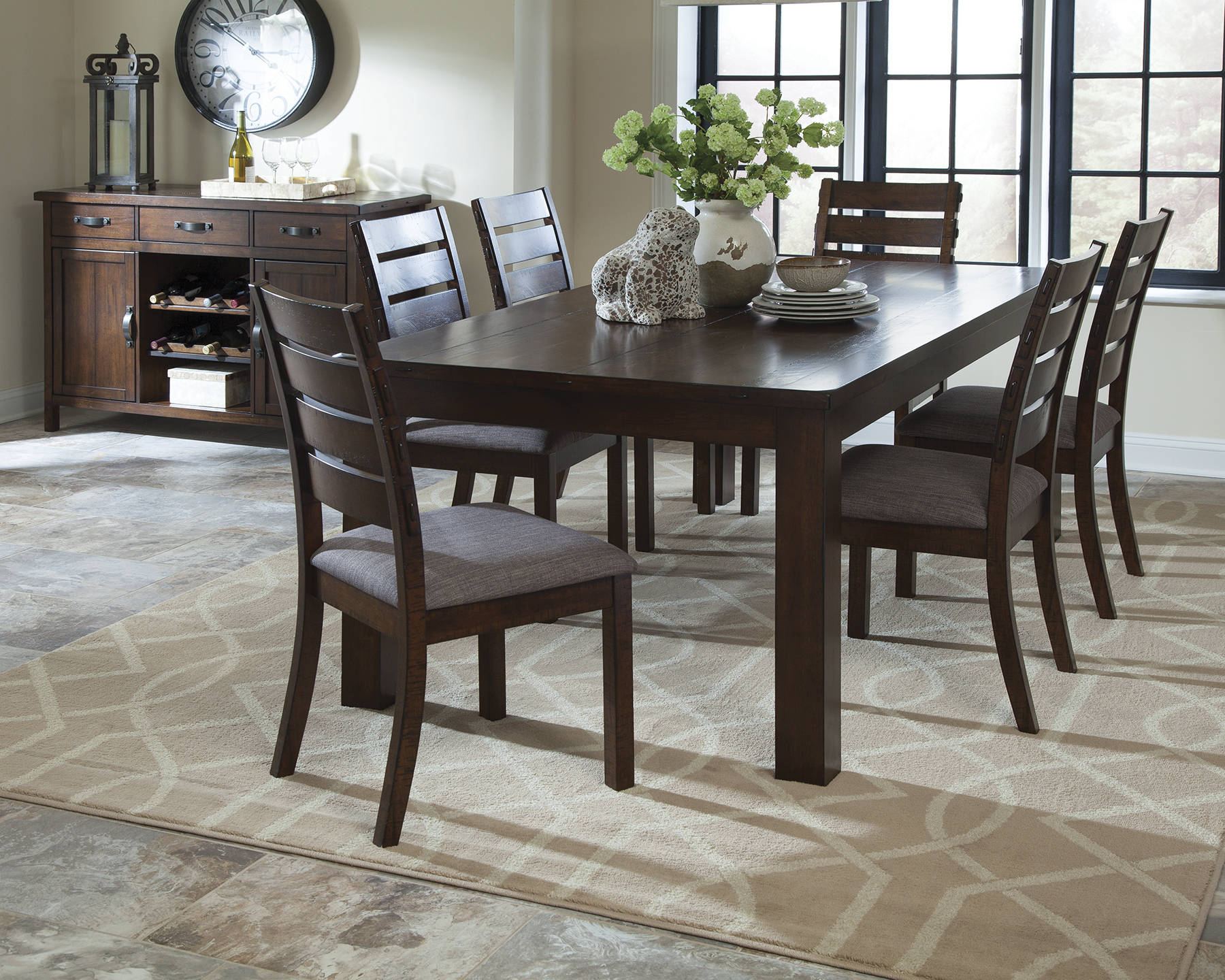 Wiltshire rustic pecan grey wood fabric dining room set for Pecan wood furniture dining room