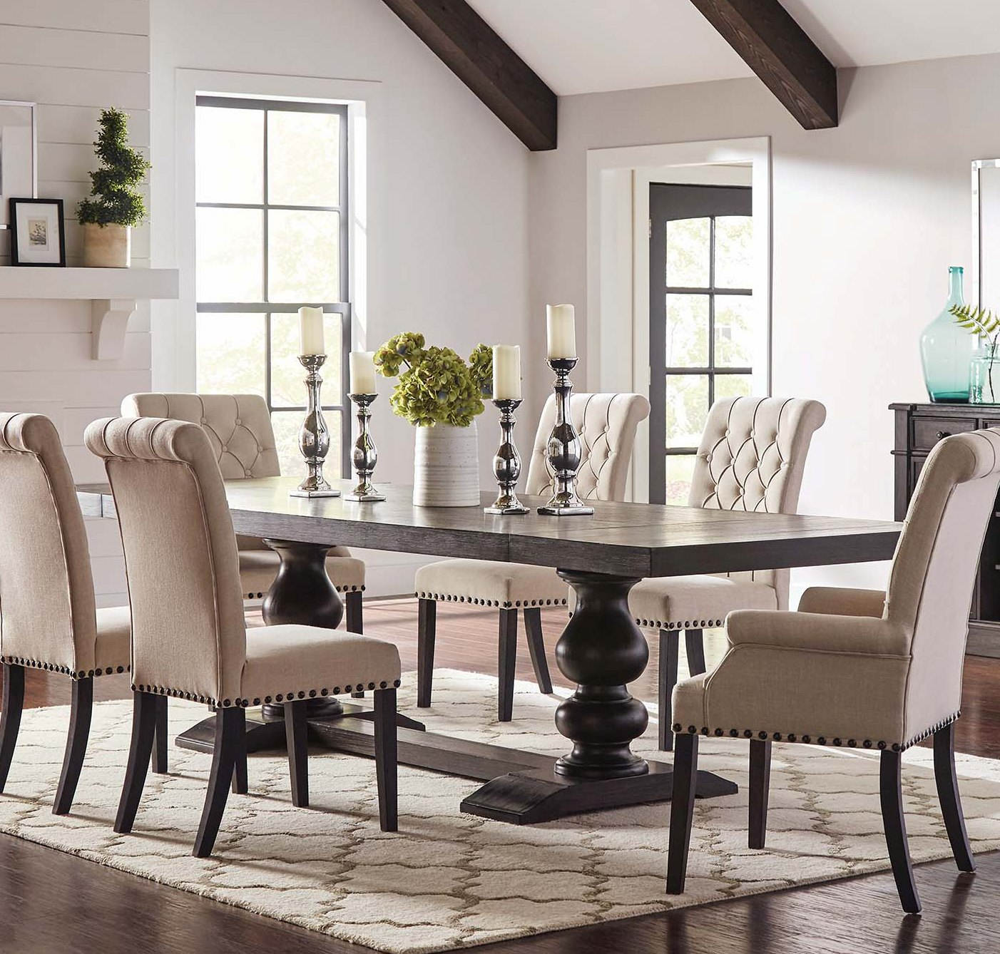 Coaster Furniture Phelps Antique Noir Dining Table The Classy Home