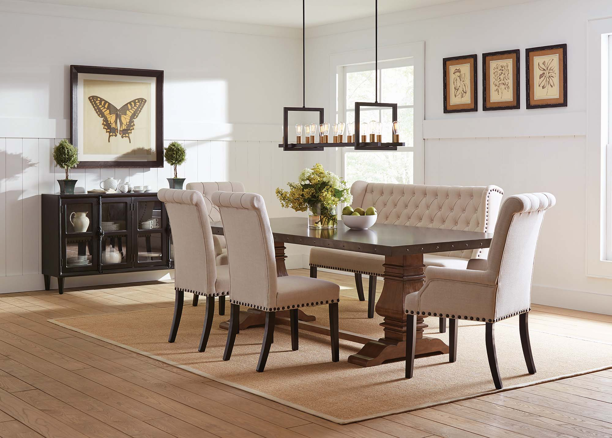Coaster Furniture Mapleton Rustic Amber Beige 6pc Dining Room Set