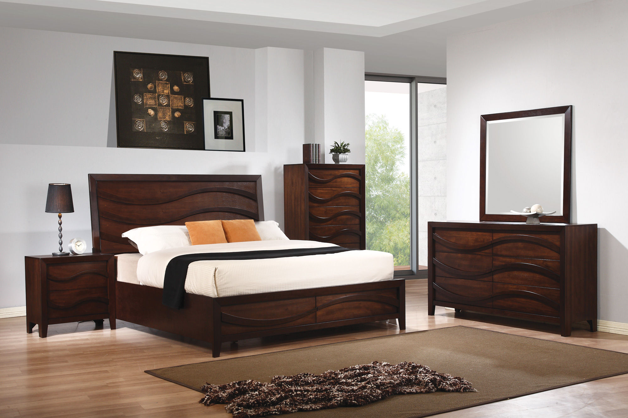 Loncar contemporary brown hardwoods veneers master for Best deals on bedroom furniture