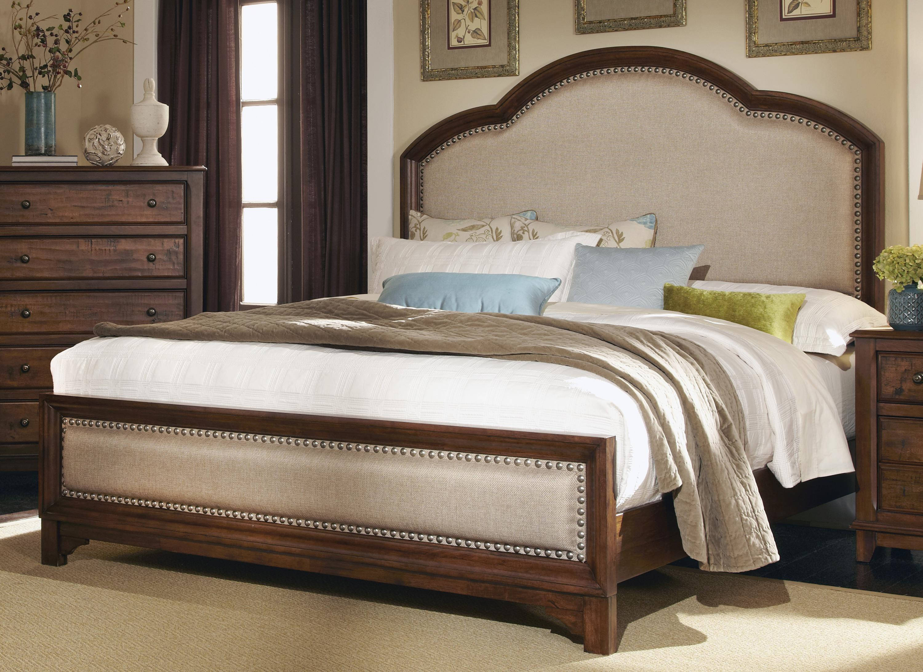Coaster furniture laughton cocoa brown upholstered headboard queen bed click to enlarge