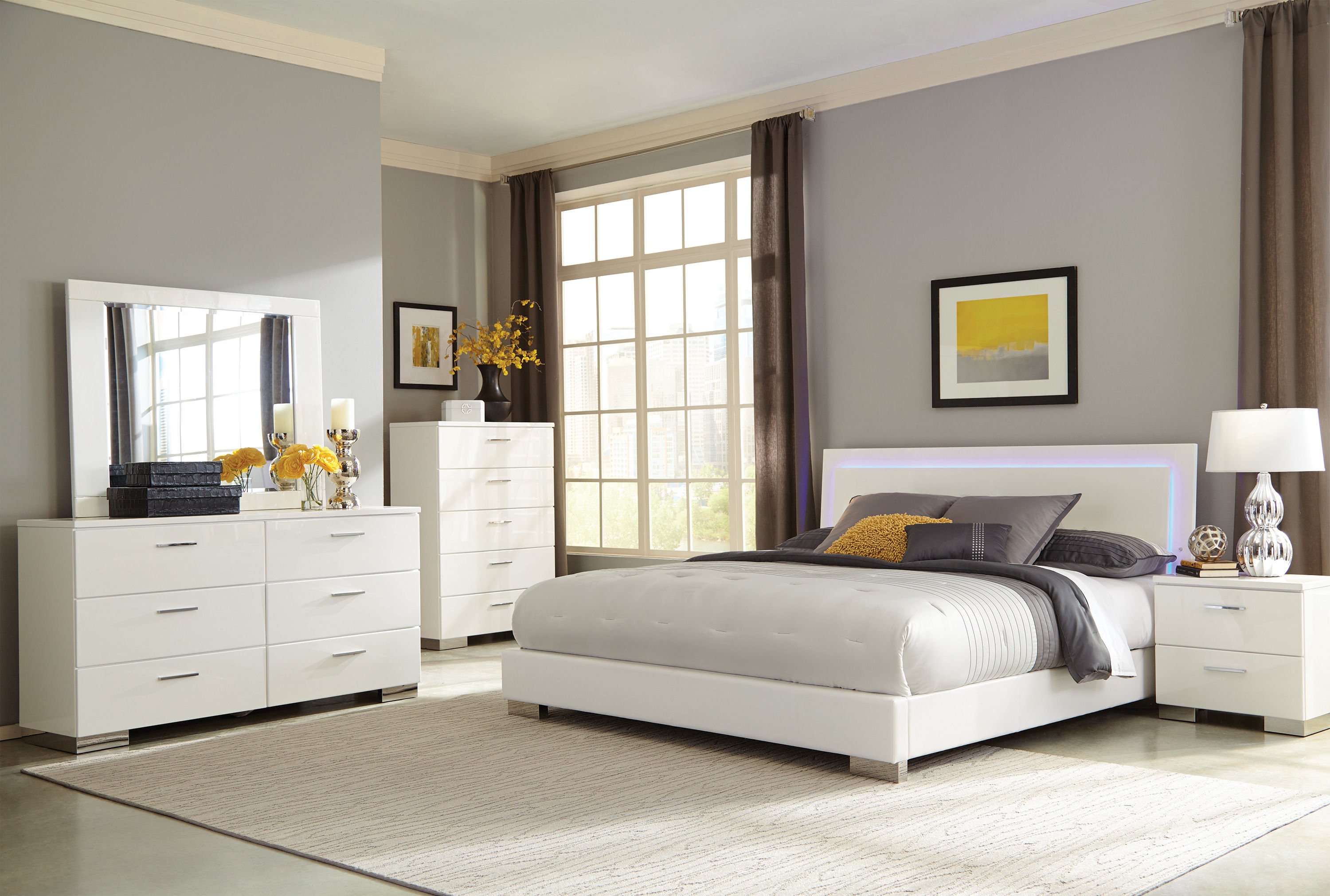 Felicity Contemporary Glossy White Wood 2pc Bedroom Set W/Queen ...