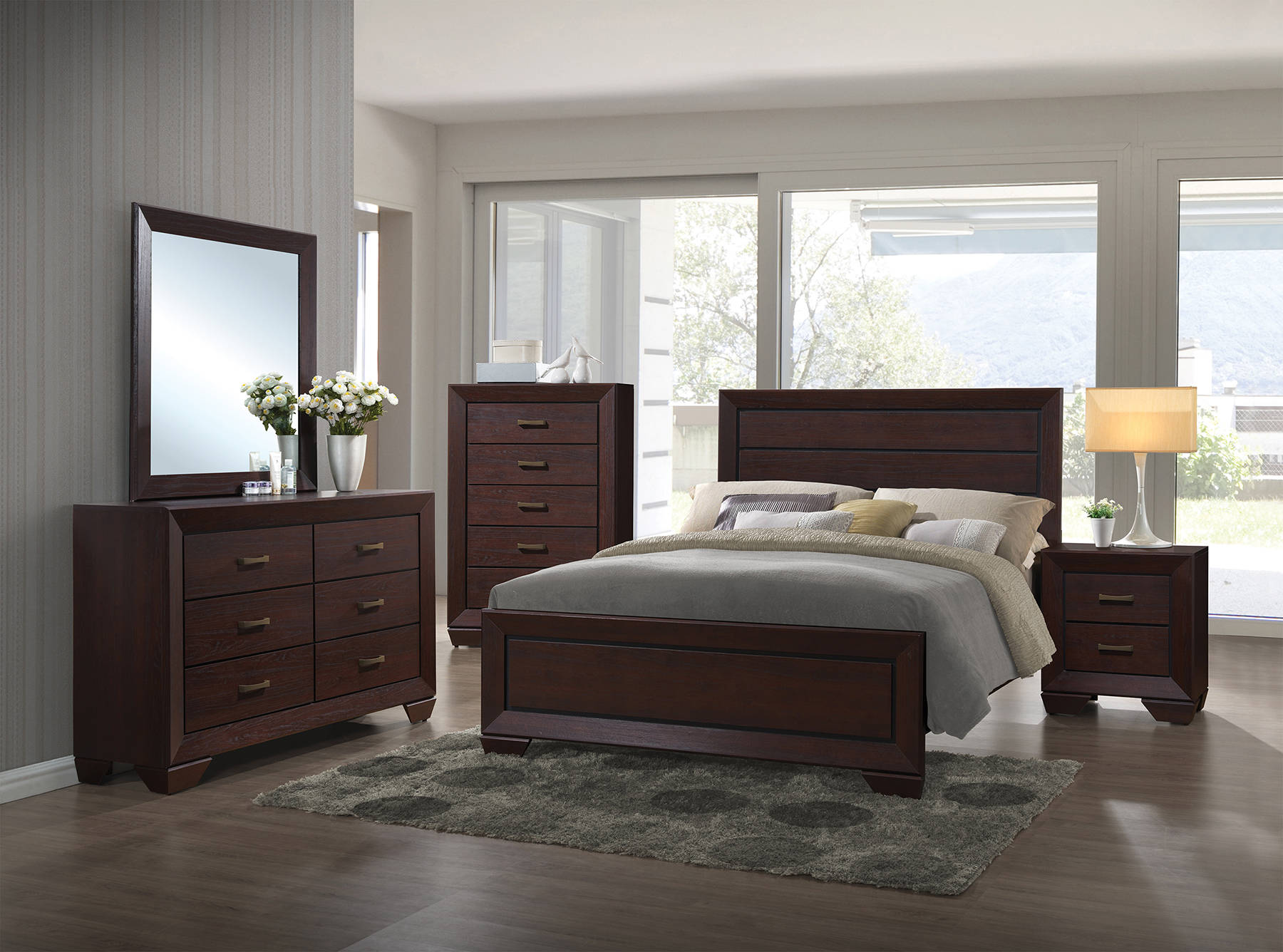 Fenbrook Transitional Dark Cocoa Hardwood Master Bedroom