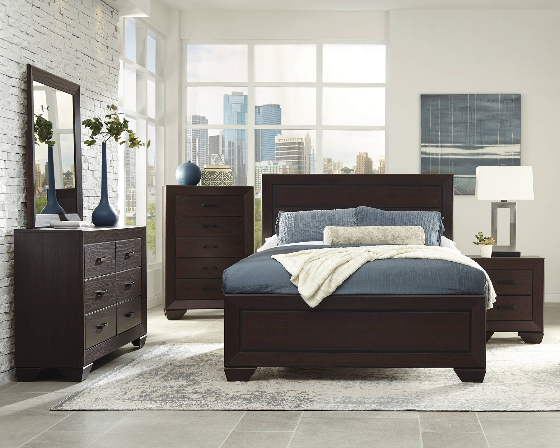 fenbrook transitional dark cocoa wood 2pc bedroom set w/queen bed