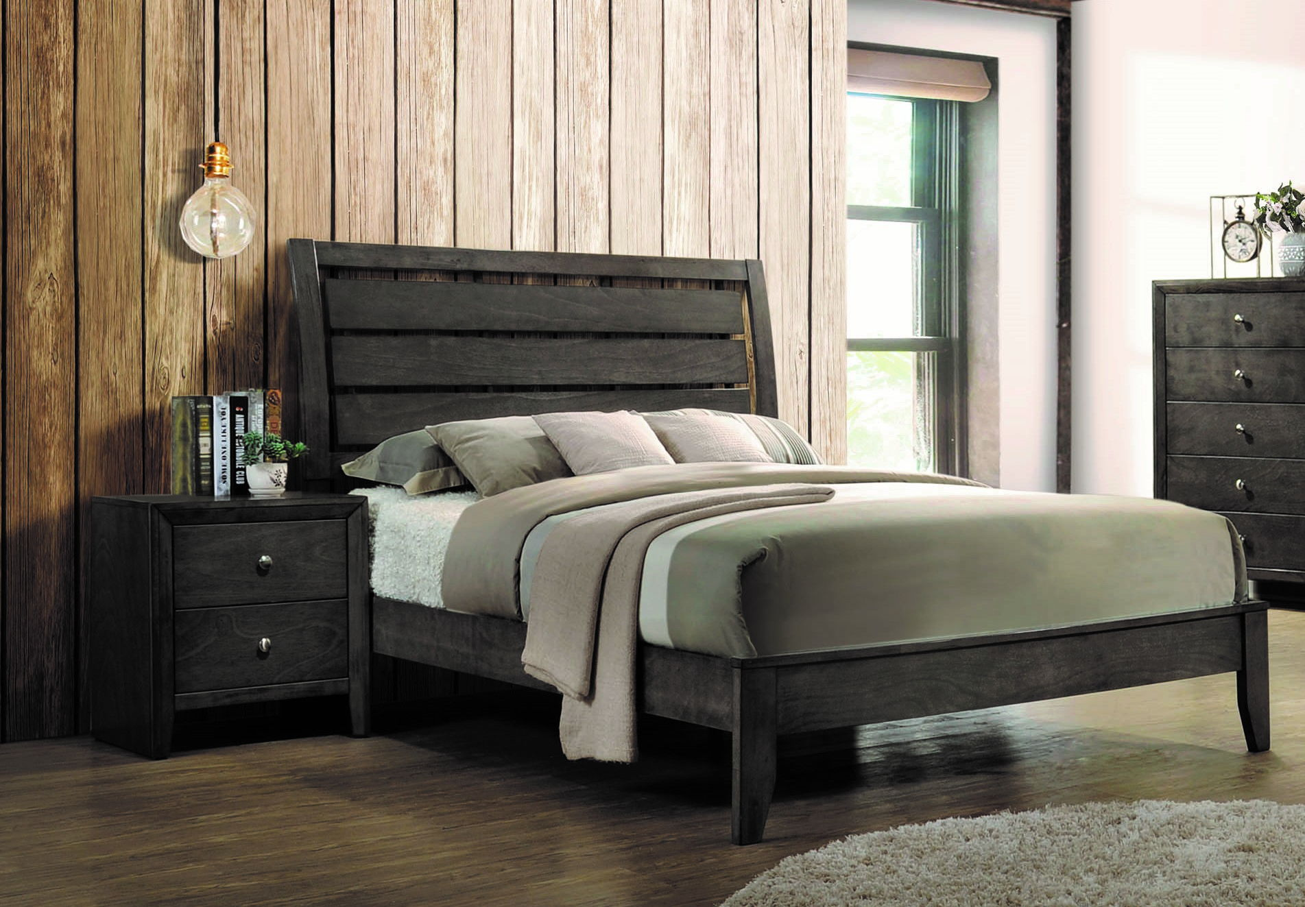 Coaster Furniture Wakefeld Mod Grey 2pc Bedroom Set With King Bed