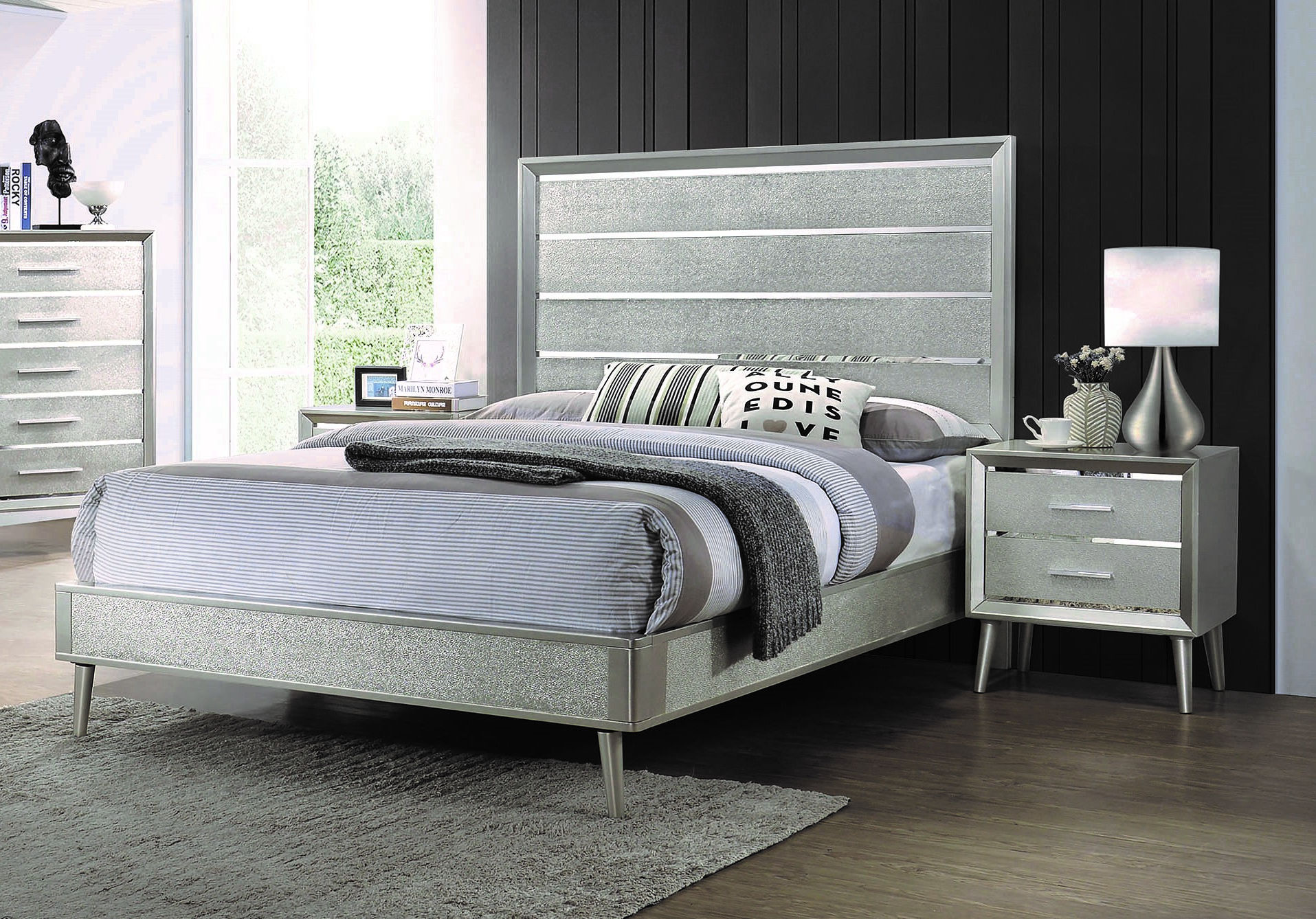 Coaster Furniture Ramon Metallic Sterling 2pc Bedroom Set With