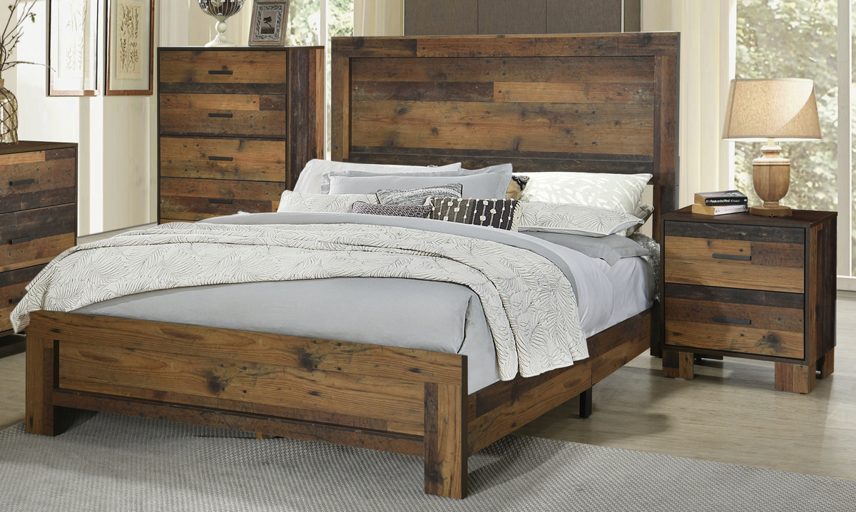 Coaster Furniture Sidney Rustic Pine 2pc King Bedroom Set The
