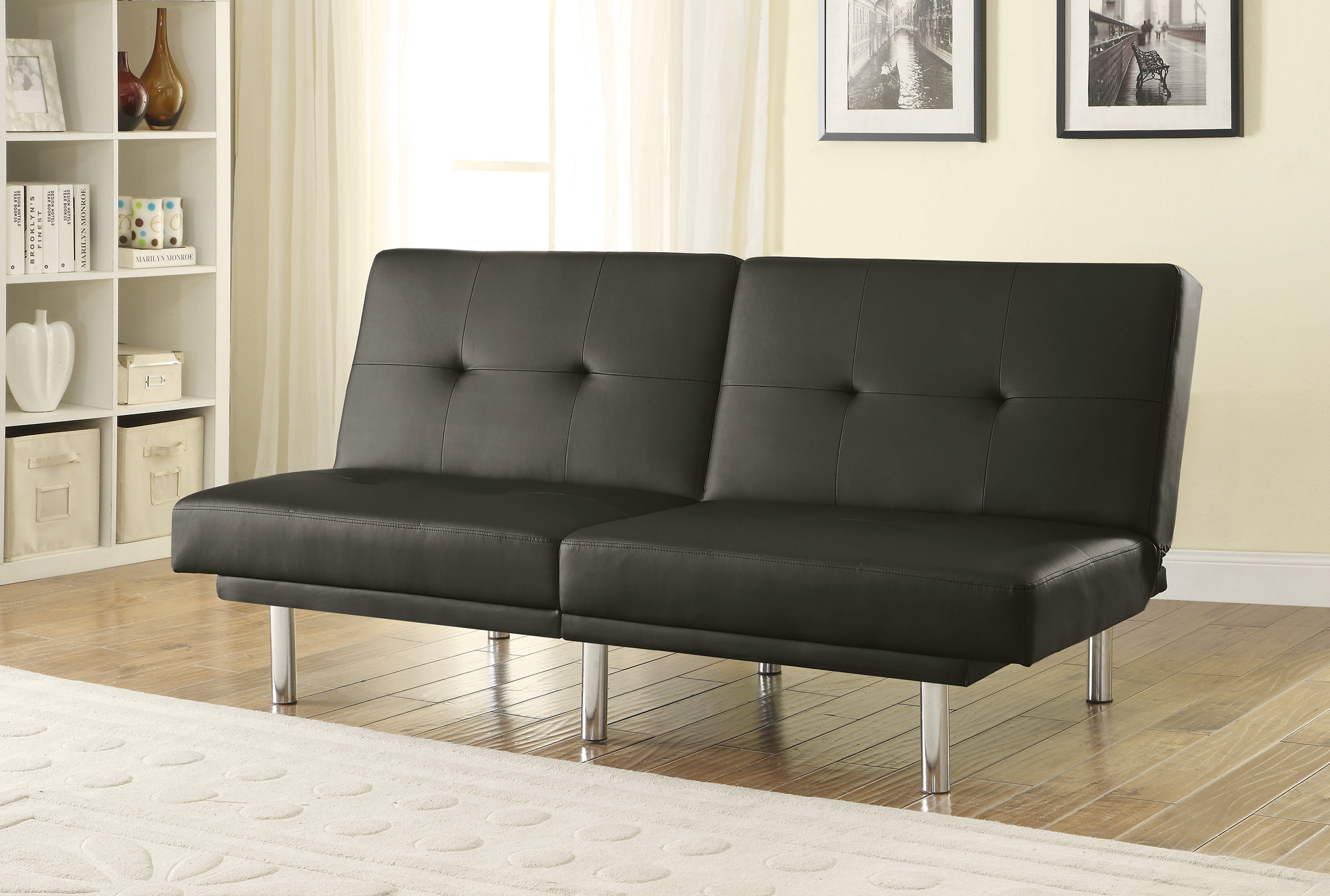 Awesome Elegant Black Faux Leather Armless Tufted Back Sofa Bed Download Free Architecture Designs Scobabritishbridgeorg