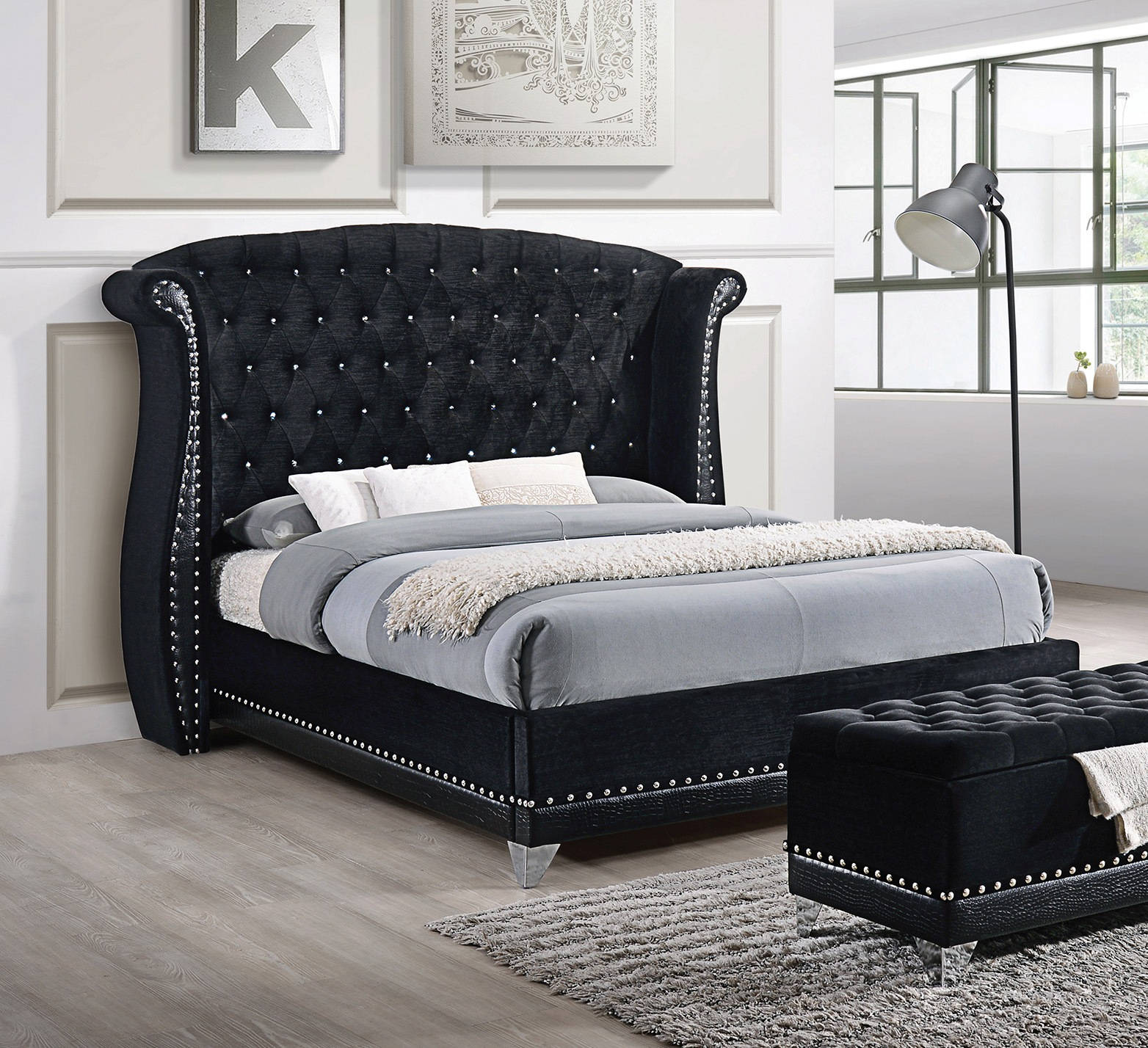 Coaster Furniture Barzini Black Velvet Upholstered King Bed The