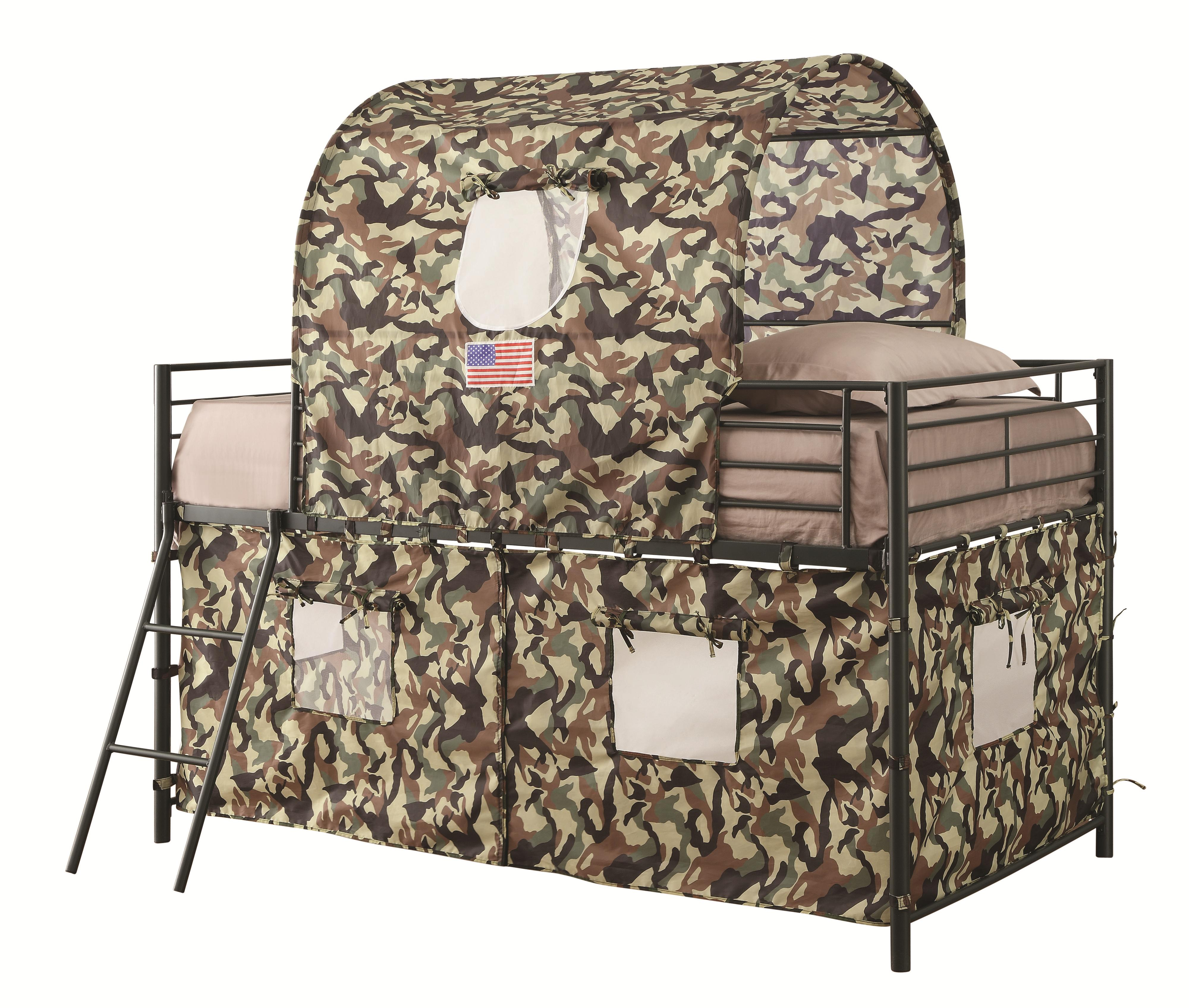 Coaster Furniture Camouflage Army Green Tent Bunk Bed The Classy Home