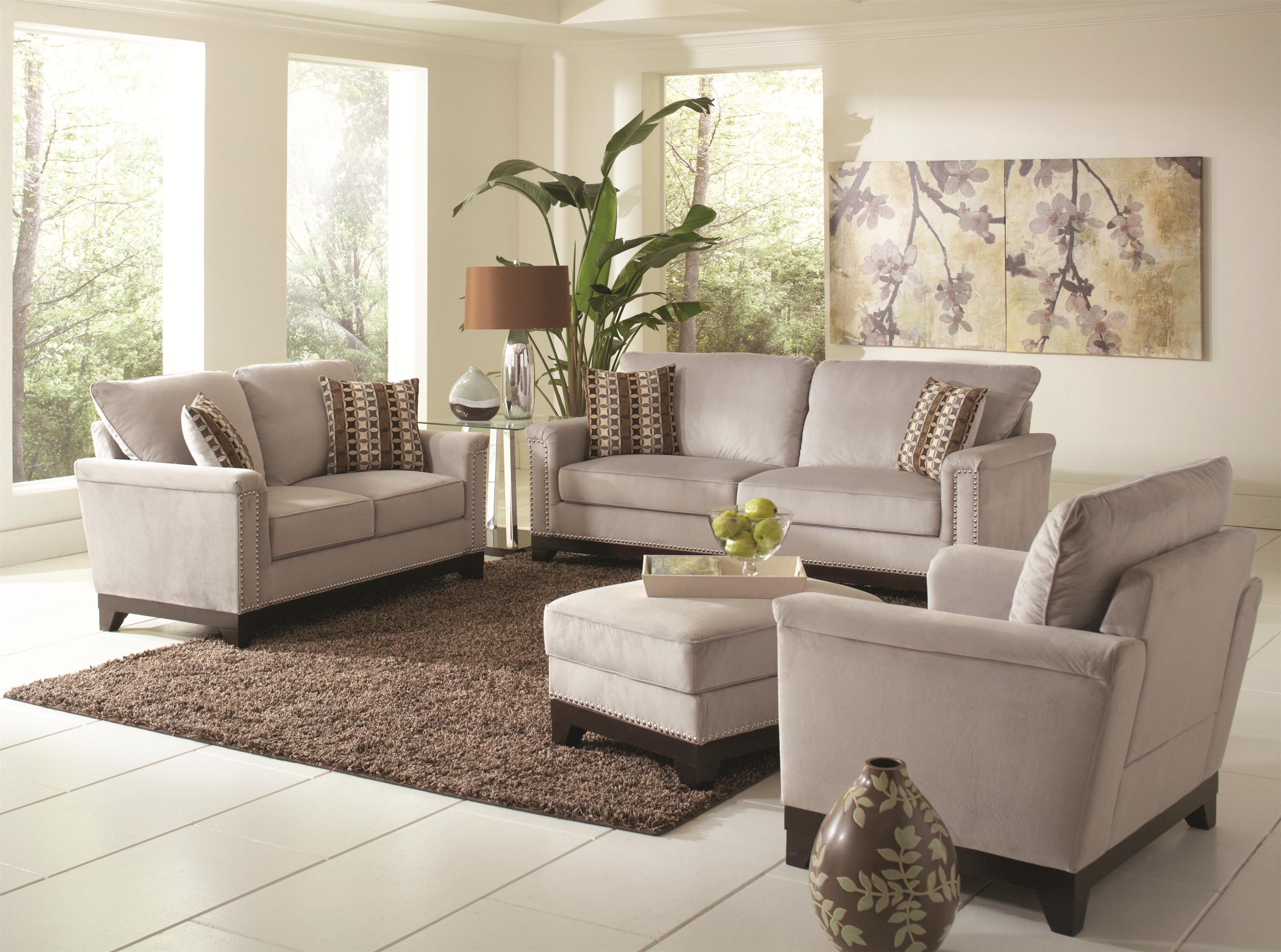 Mason Contemporary Grey Wood And Velvet 4pc Living Room Set The