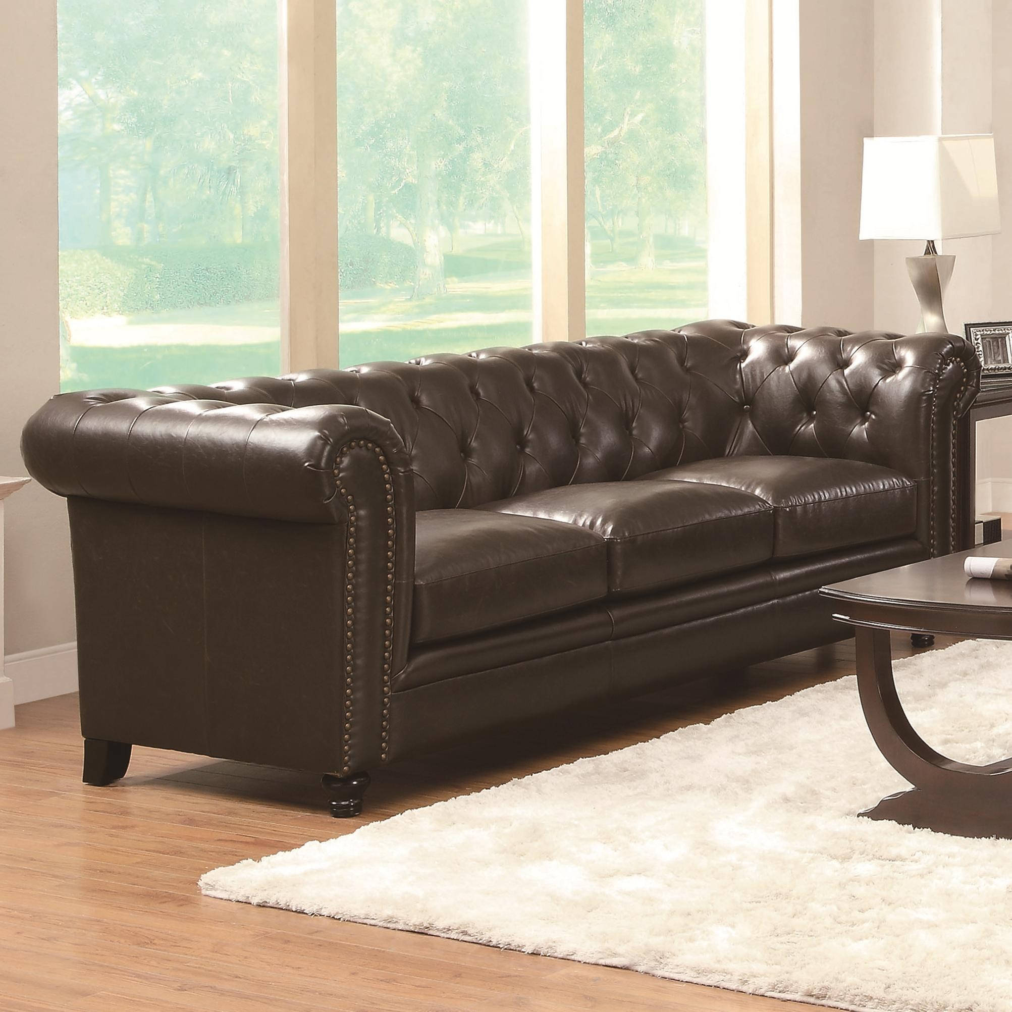 Coaster Furniture Roy Brown Bonded Leather Sofa | The Classy Home