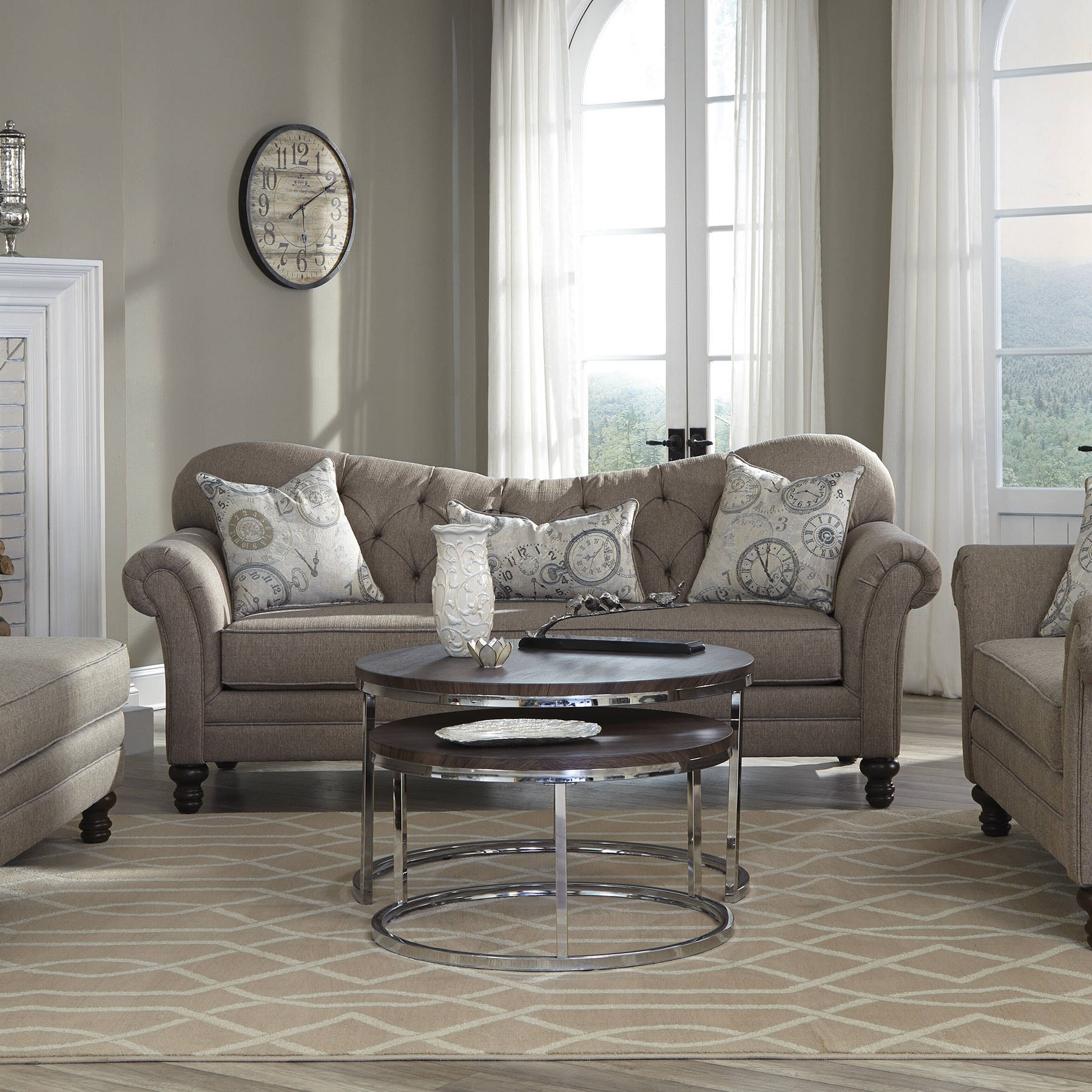 Carnahan Traditional Stone Grey Fabric Tufted Reverse Camel Back Sofa Click  To Enlarge Click To Enlarge ...