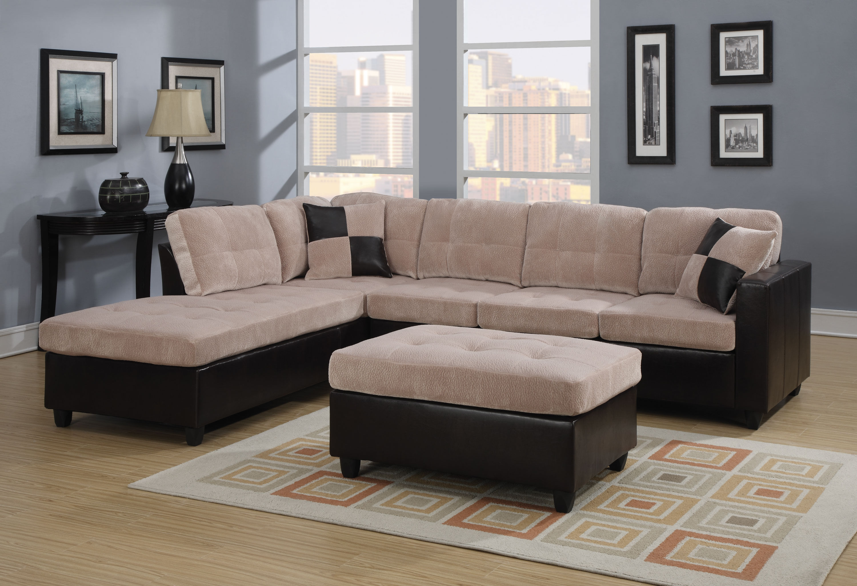 Mallory casual microfiber living room set the classy home - Microfiber living room furniture sets ...