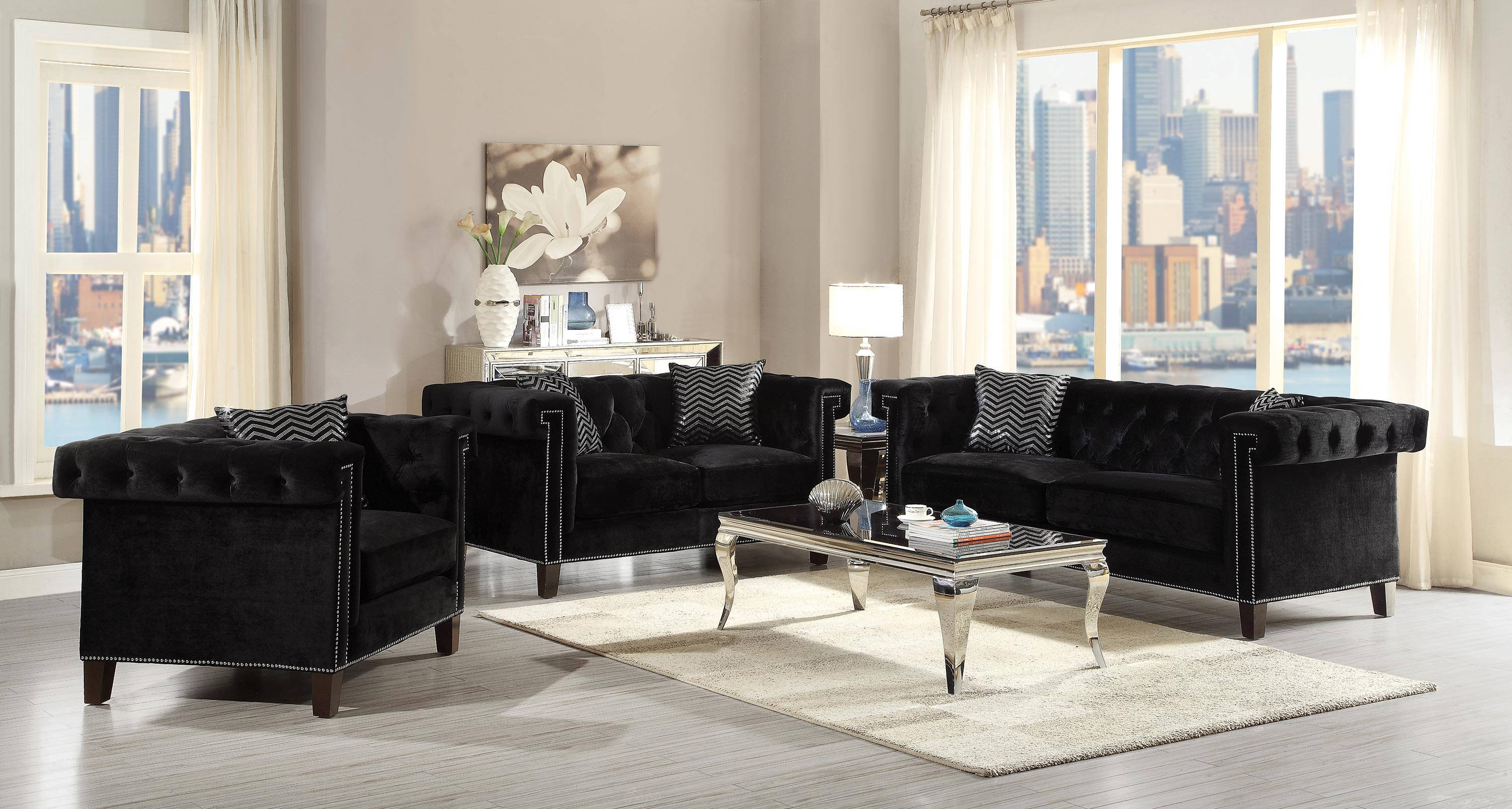 Black Velvet Sofa Set Home Design Ideas and
