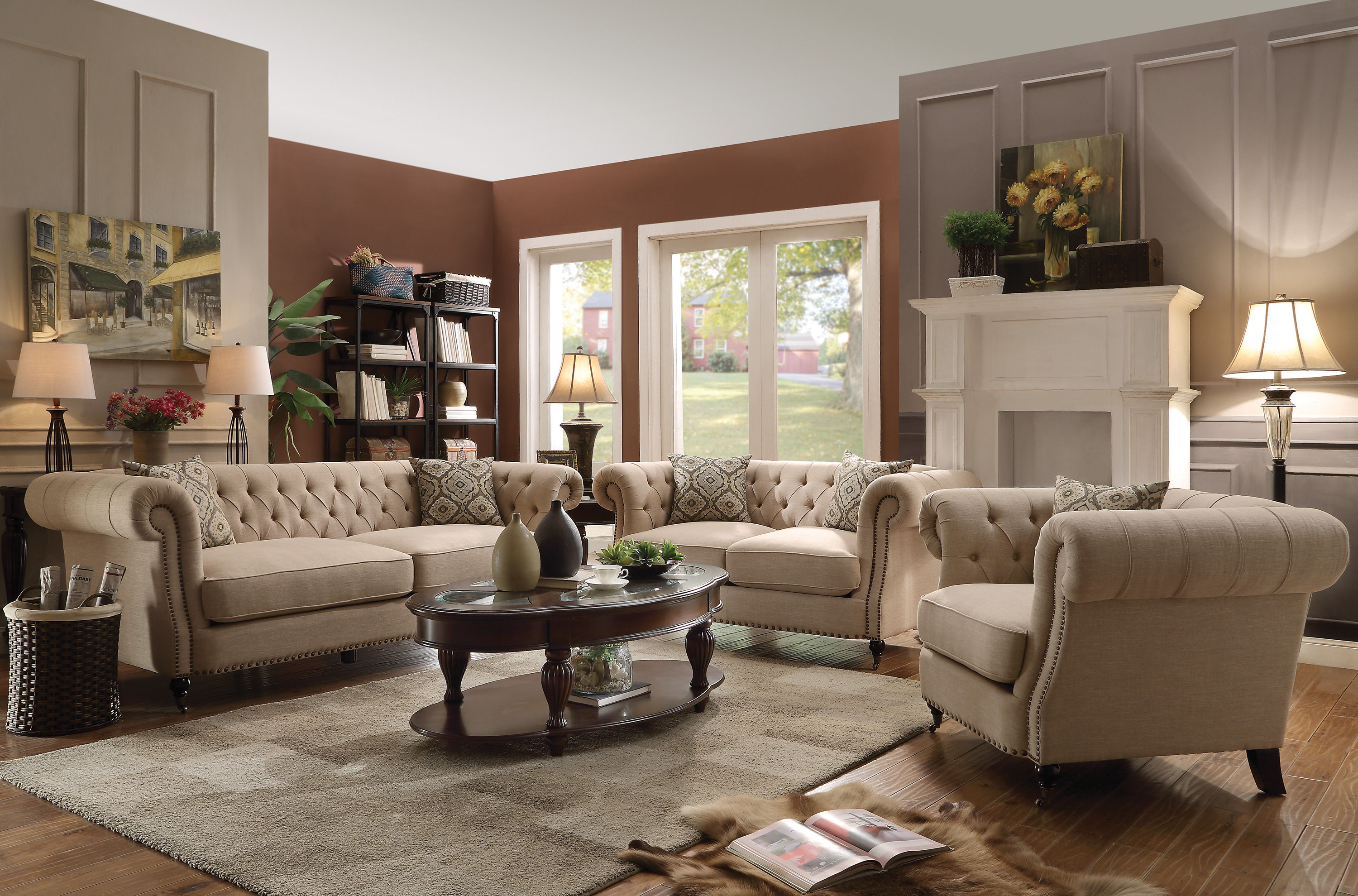 Trivellato oatmeal linen living room set the classy home for Living room furniture stores