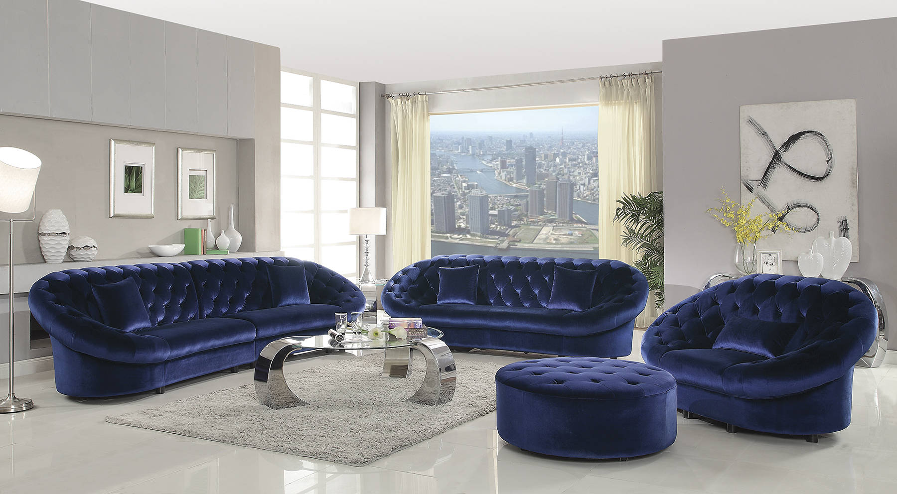 Romanus Traditional Royal Blue Velvet Tufted 4pc Living Room Set Click To  Enlarge ...