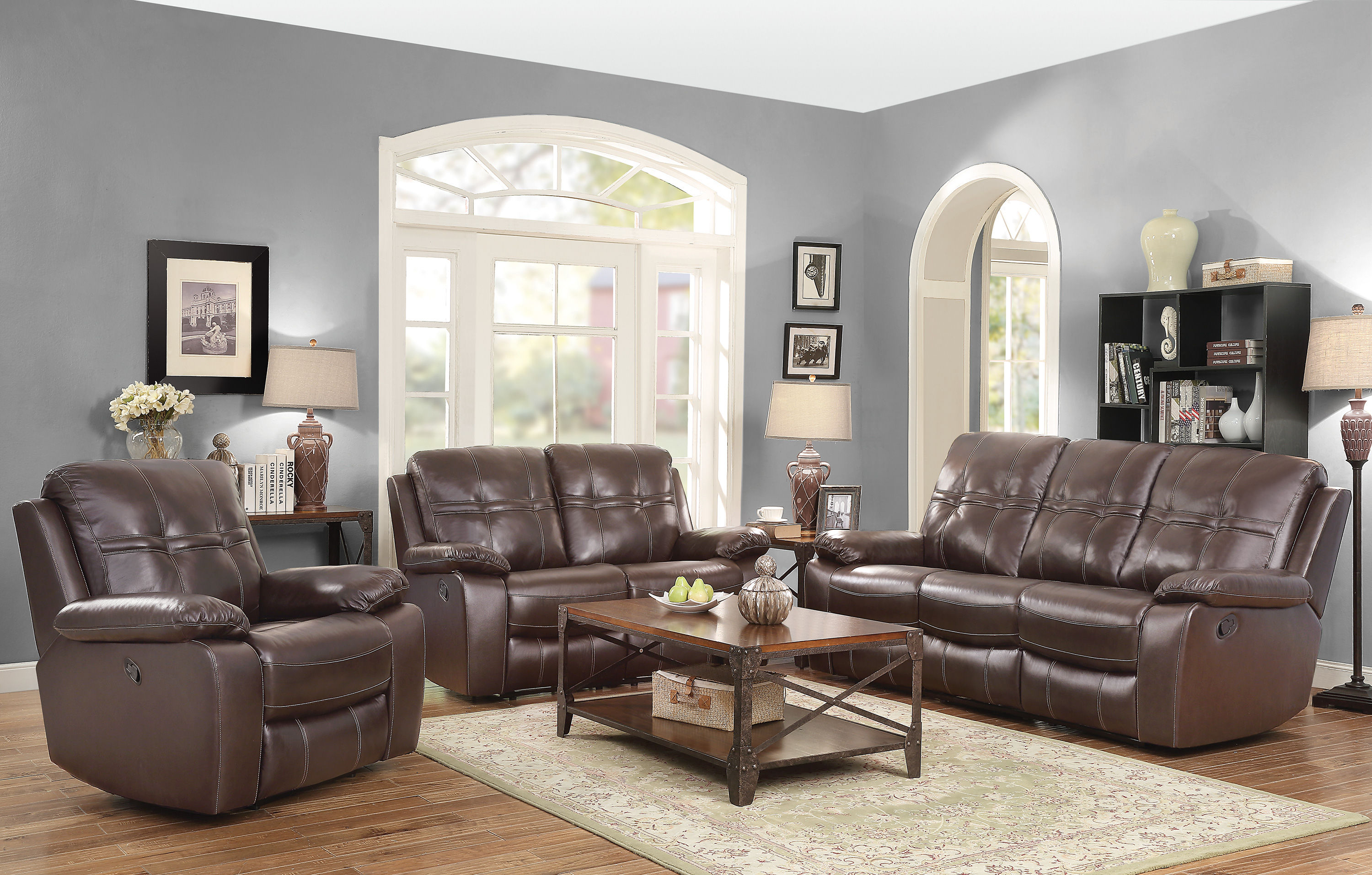 holloway dark brown grain leather living room set the classy home. Black Bedroom Furniture Sets. Home Design Ideas