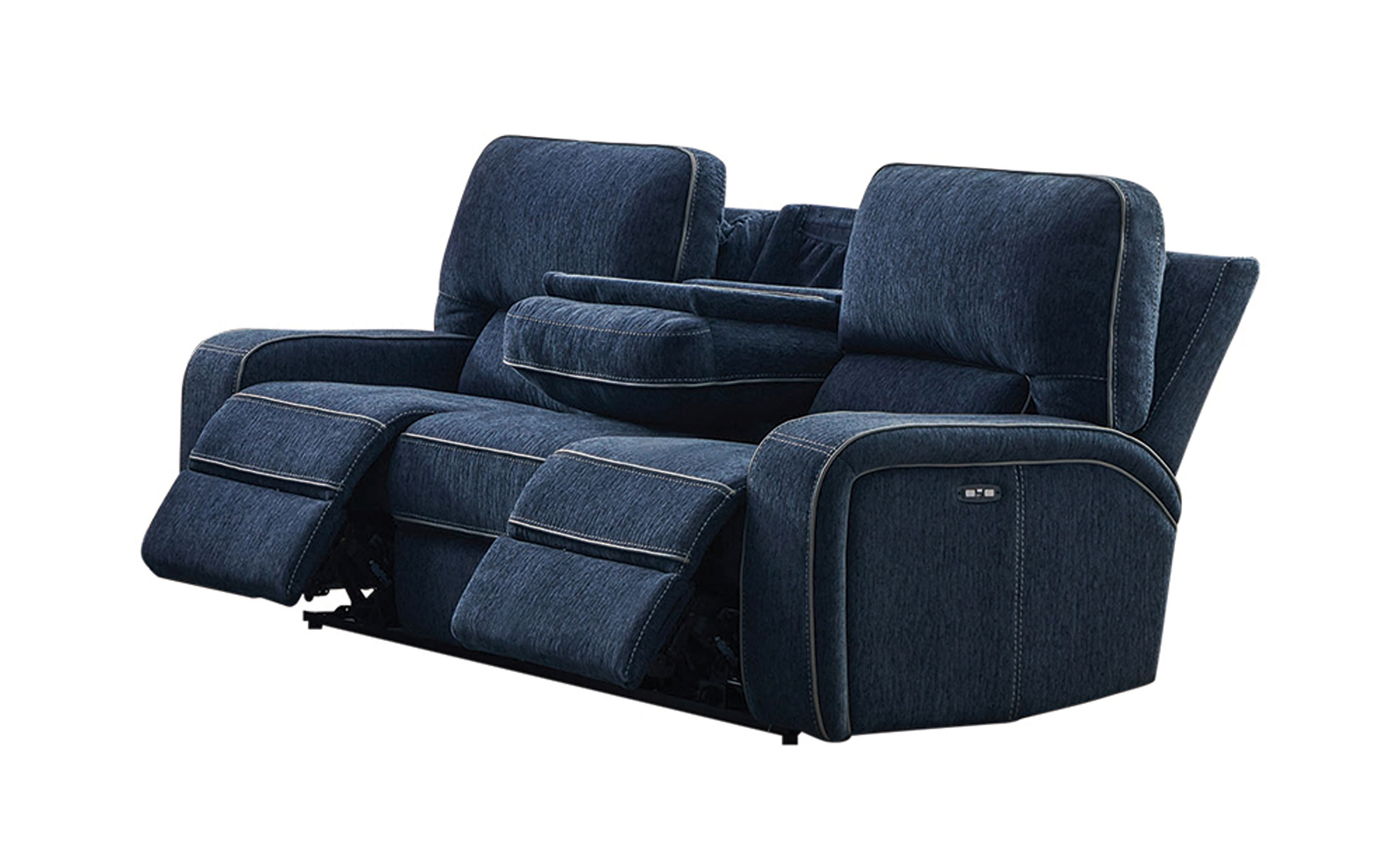 Navy Blue Performance Chenille Upholstered Power Reclining Chair