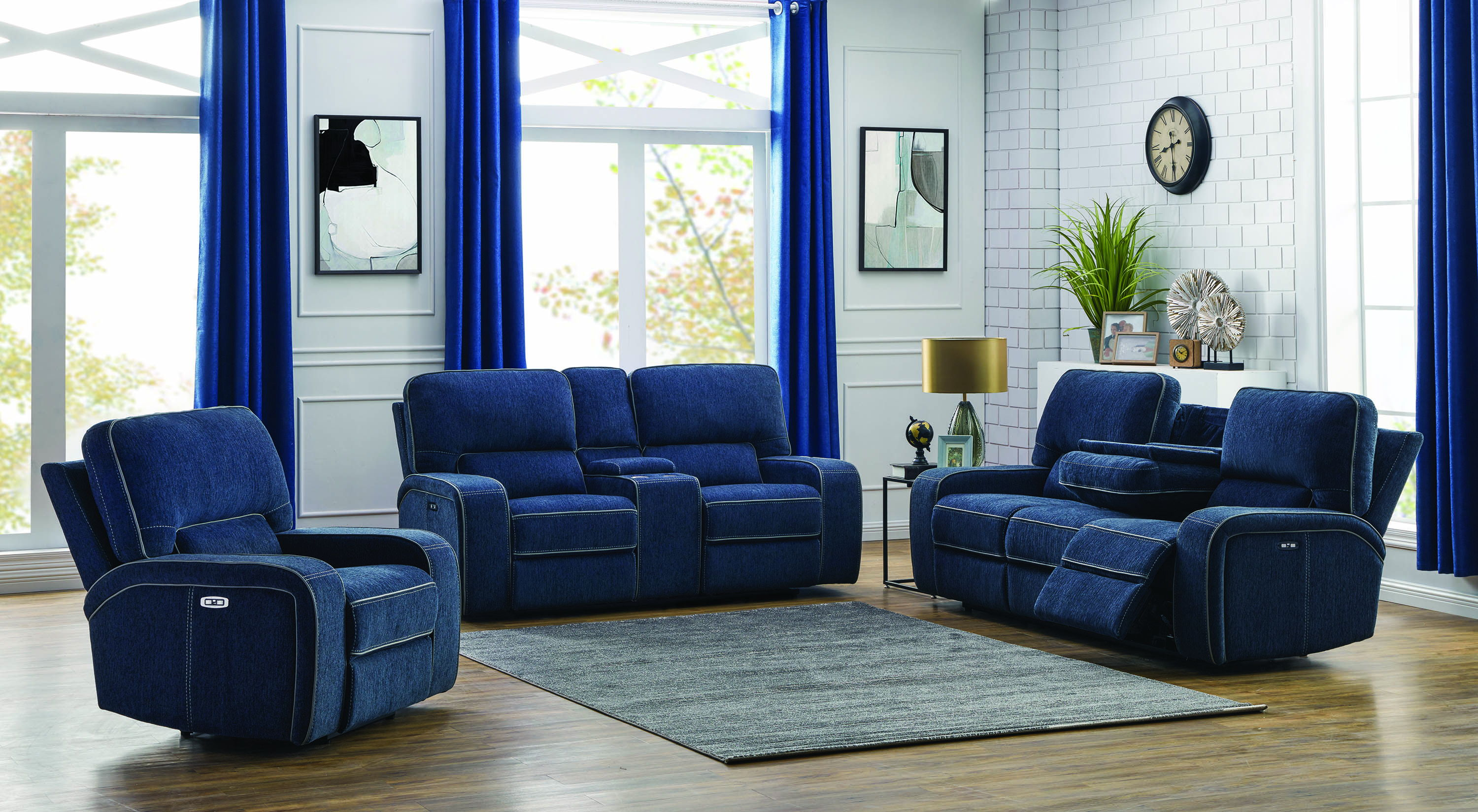 Coaster Furniture Groveland Navy Blue 3pc Power Living Room Set