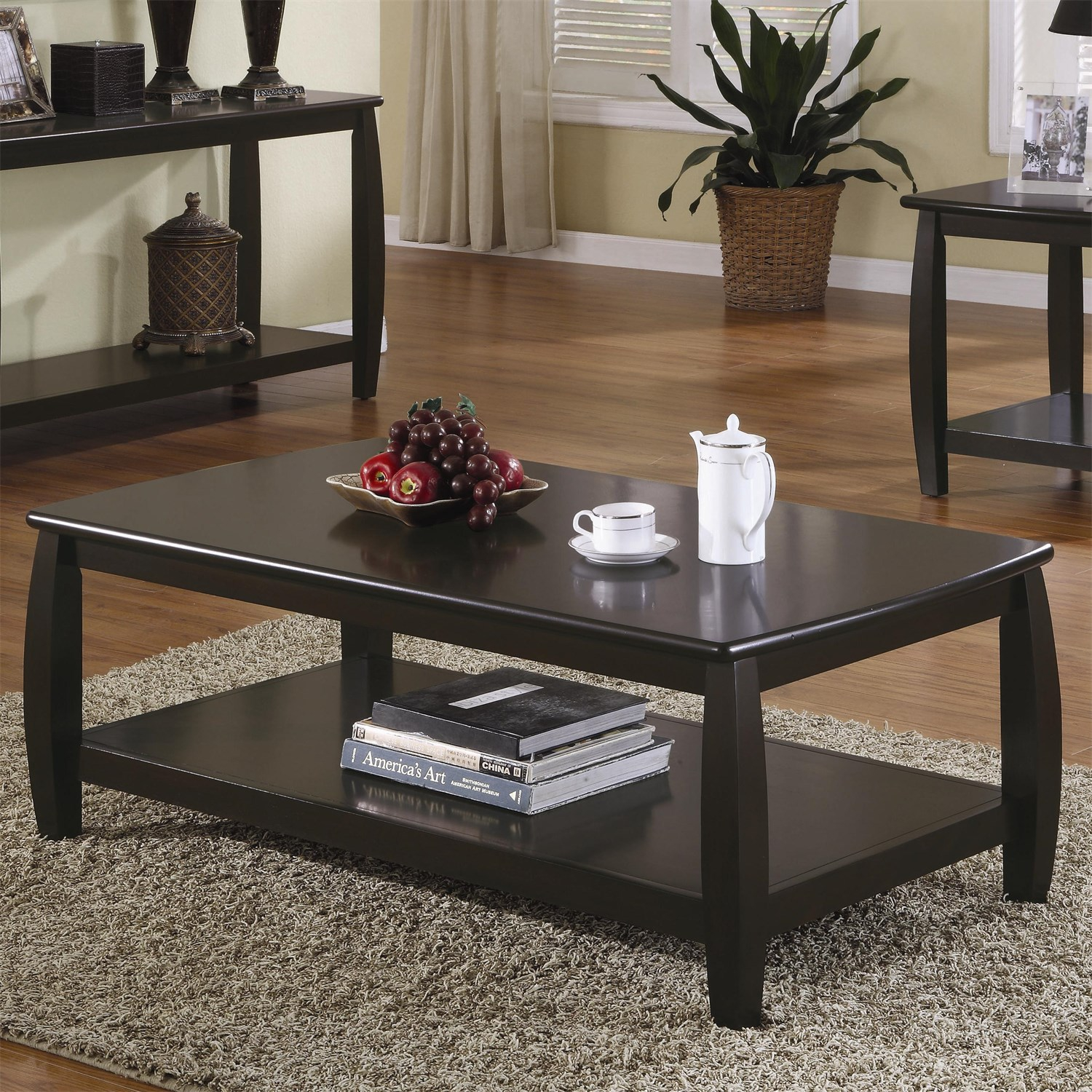 coaster furniture espresso wood shelves coffee table the classy home. Black Bedroom Furniture Sets. Home Design Ideas