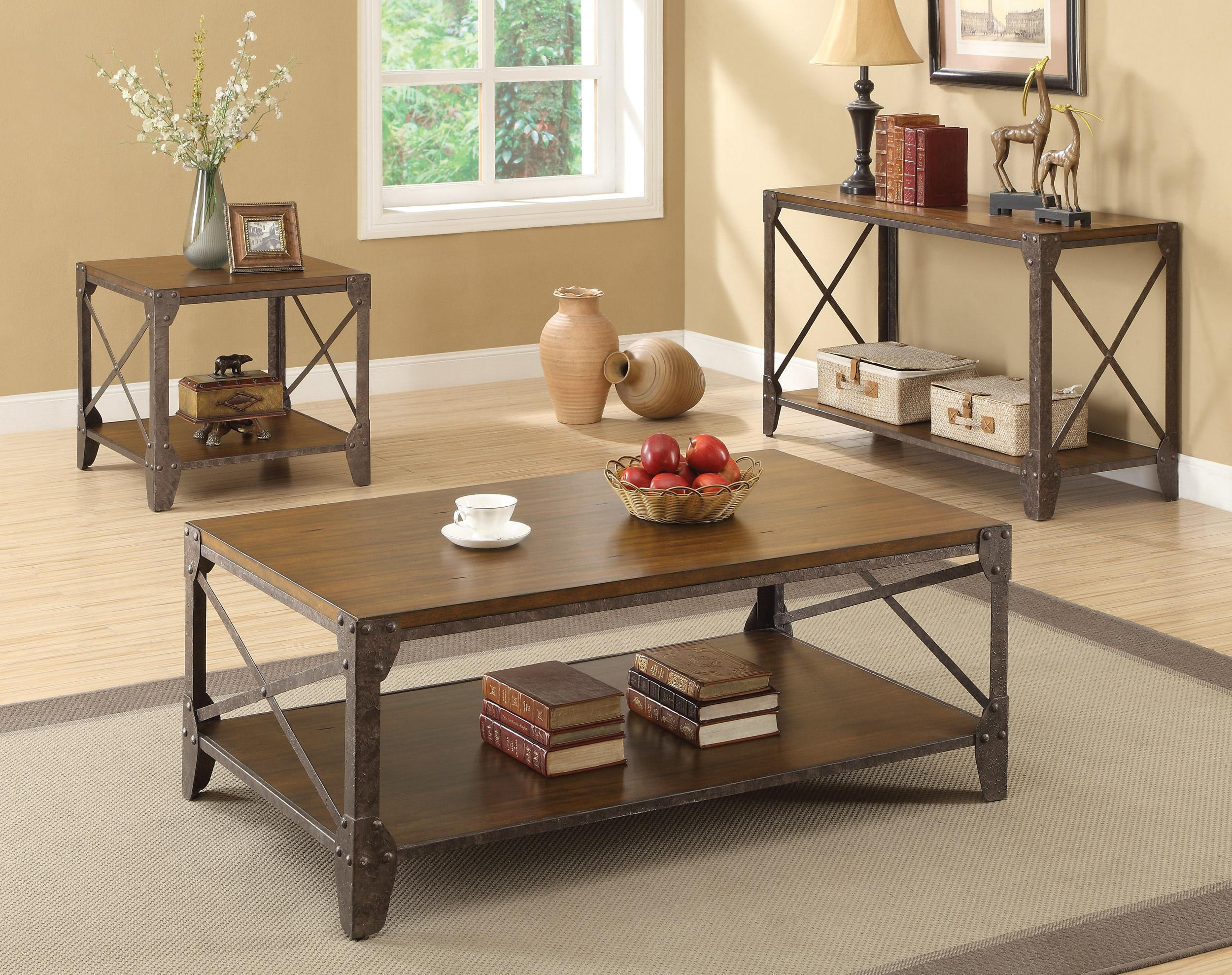 traditional brown wood metal coffee table set w shelf