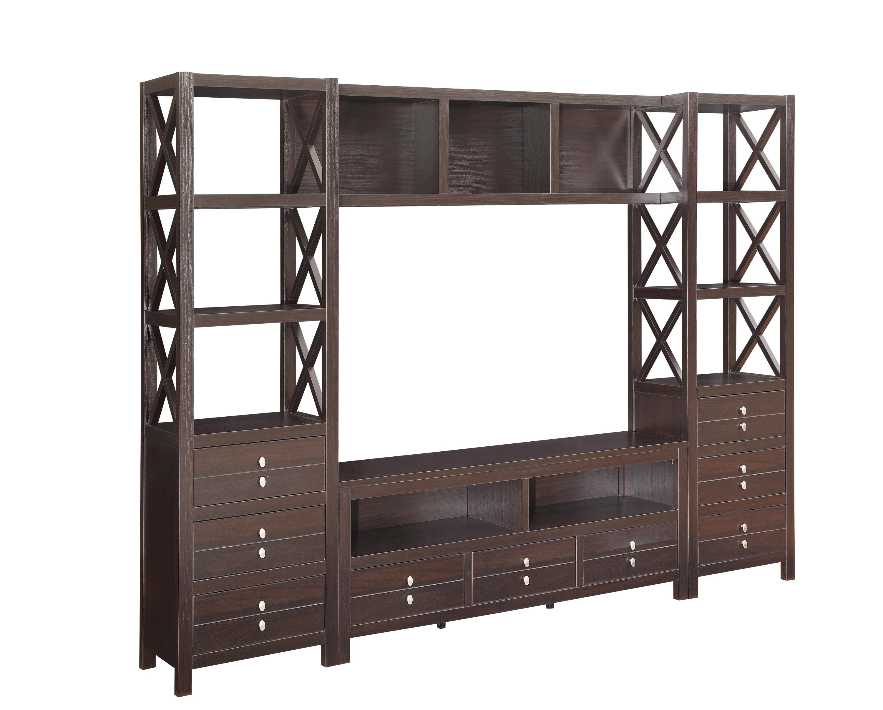 Casual Cappuccino Wood Entertainment Center w 2 Media Tower