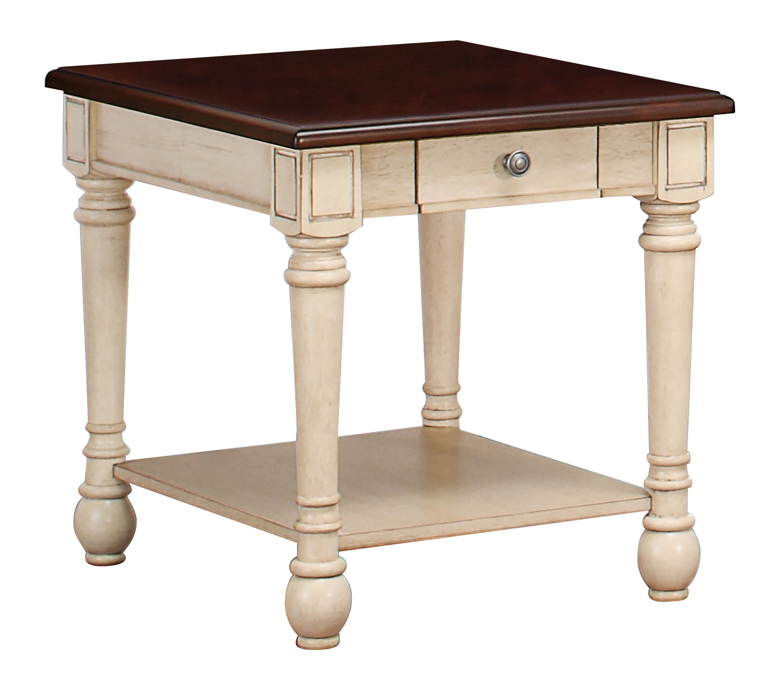Dark Brown Antique White Wood End Table