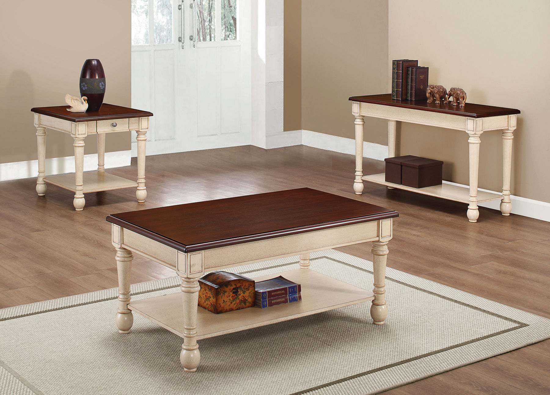 Transitional Dark Brown Antique White Wood Coffee Table