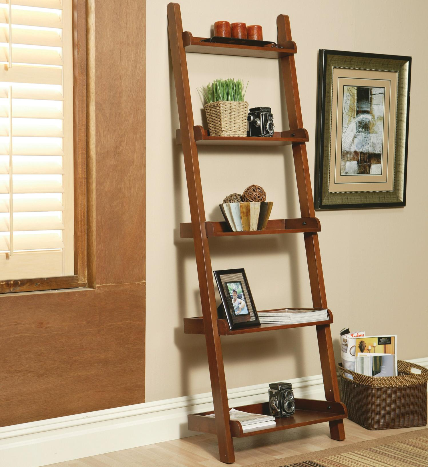 factory authentic 61b42 295b1 Brown Wood Ladder Bookcase w/5 Shelves & Guards | The Classy ...