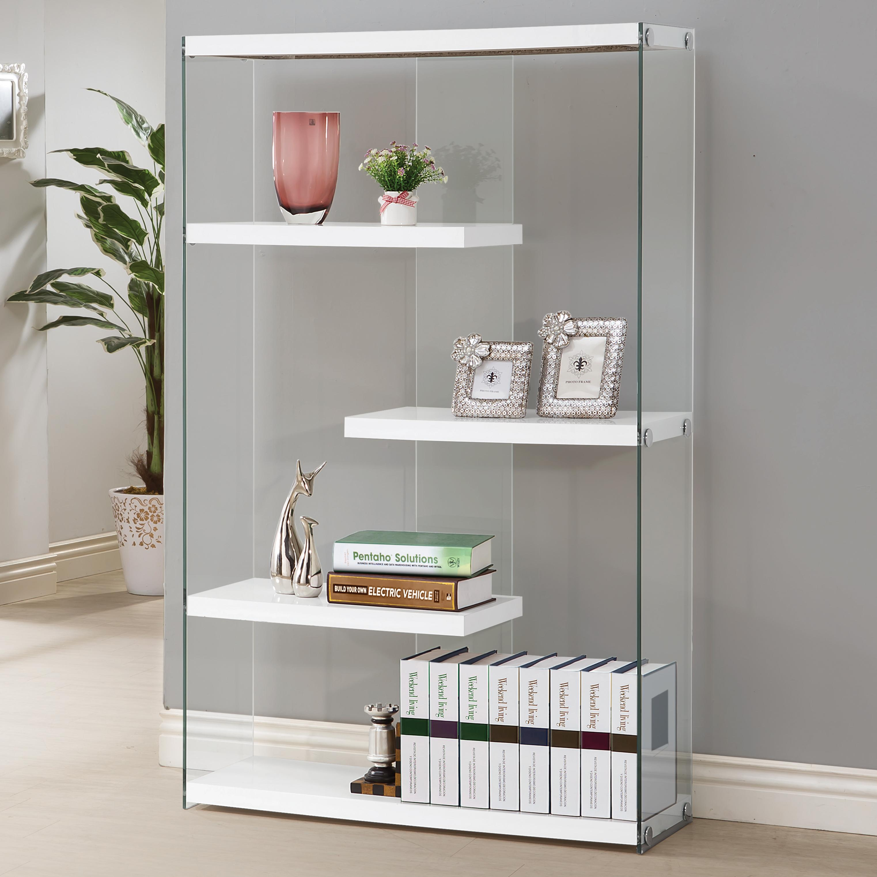 Contemporary White Wood Glass Bookcase W Fixed Shelves The