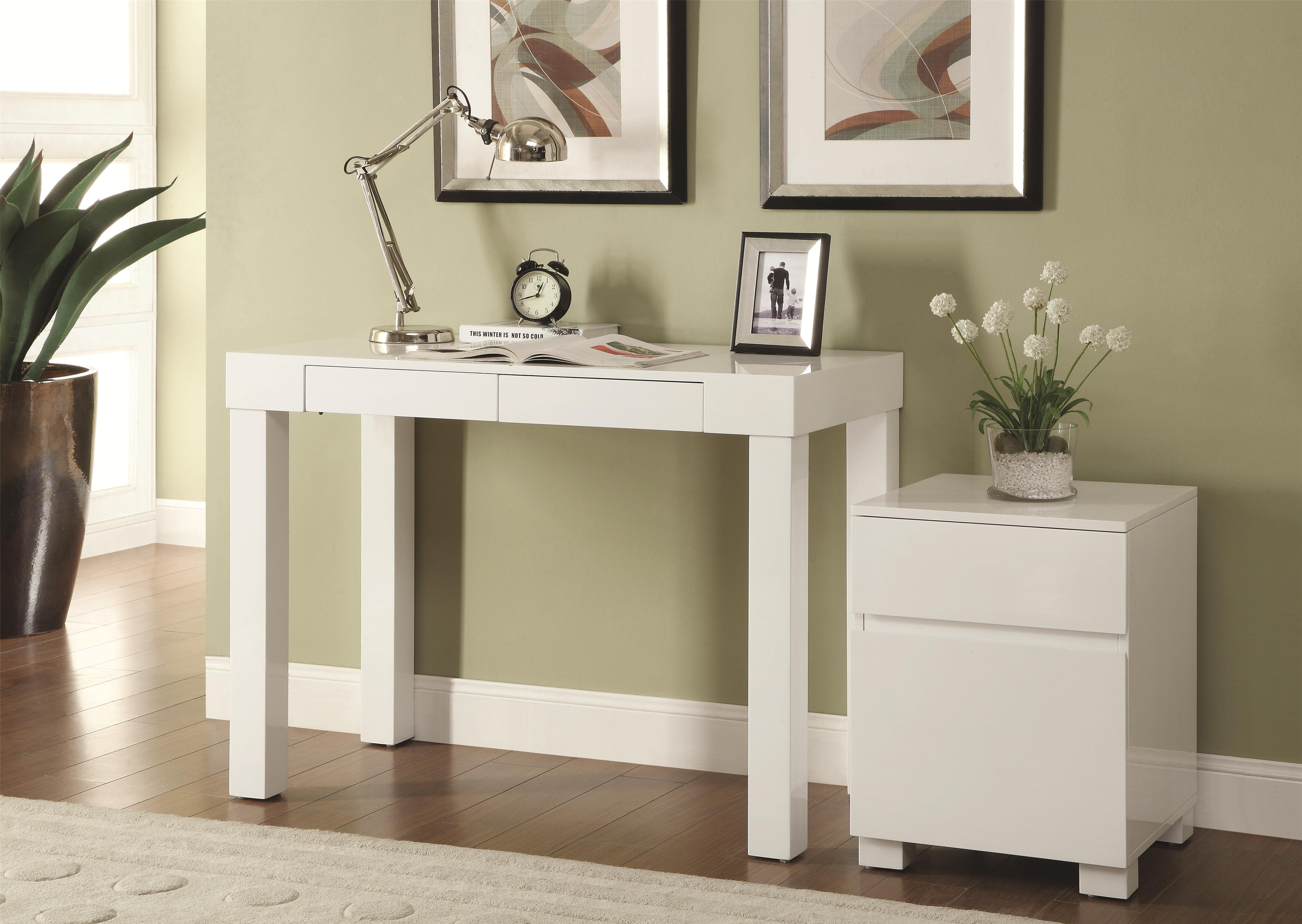 White Wood Home Office Furniture ~ Contemporary white wood pc office furniture set the