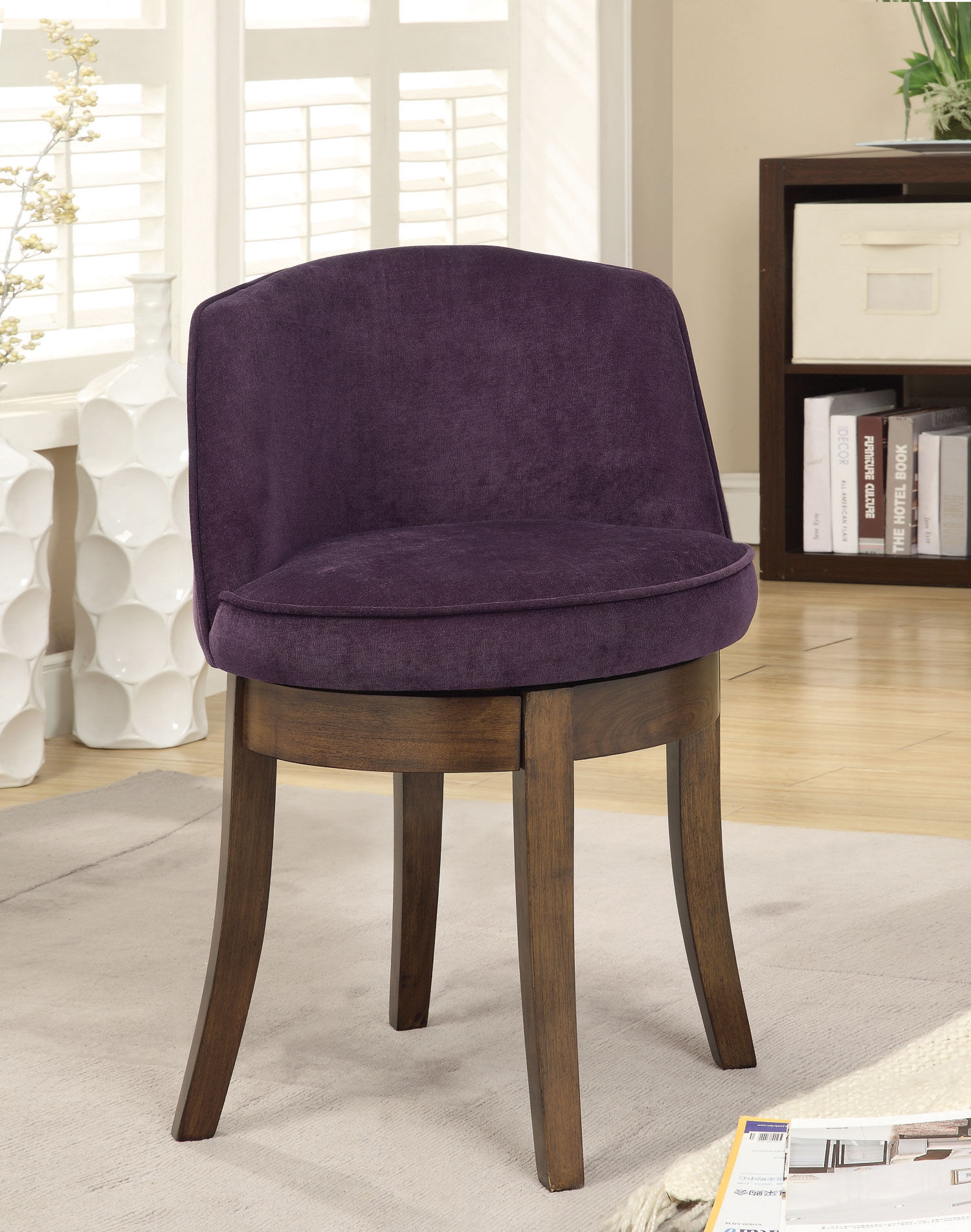 Miraculous Purple Wood Vanity Stool The Classy Home Squirreltailoven Fun Painted Chair Ideas Images Squirreltailovenorg