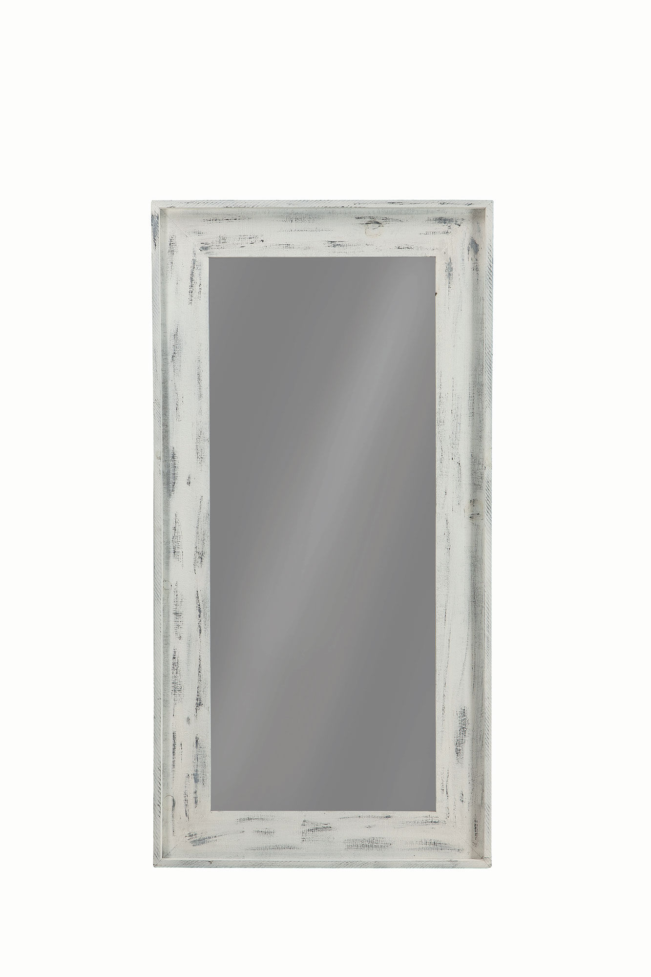 Coaster furniture distressed white solid pine wood glass for Glass floor mirror