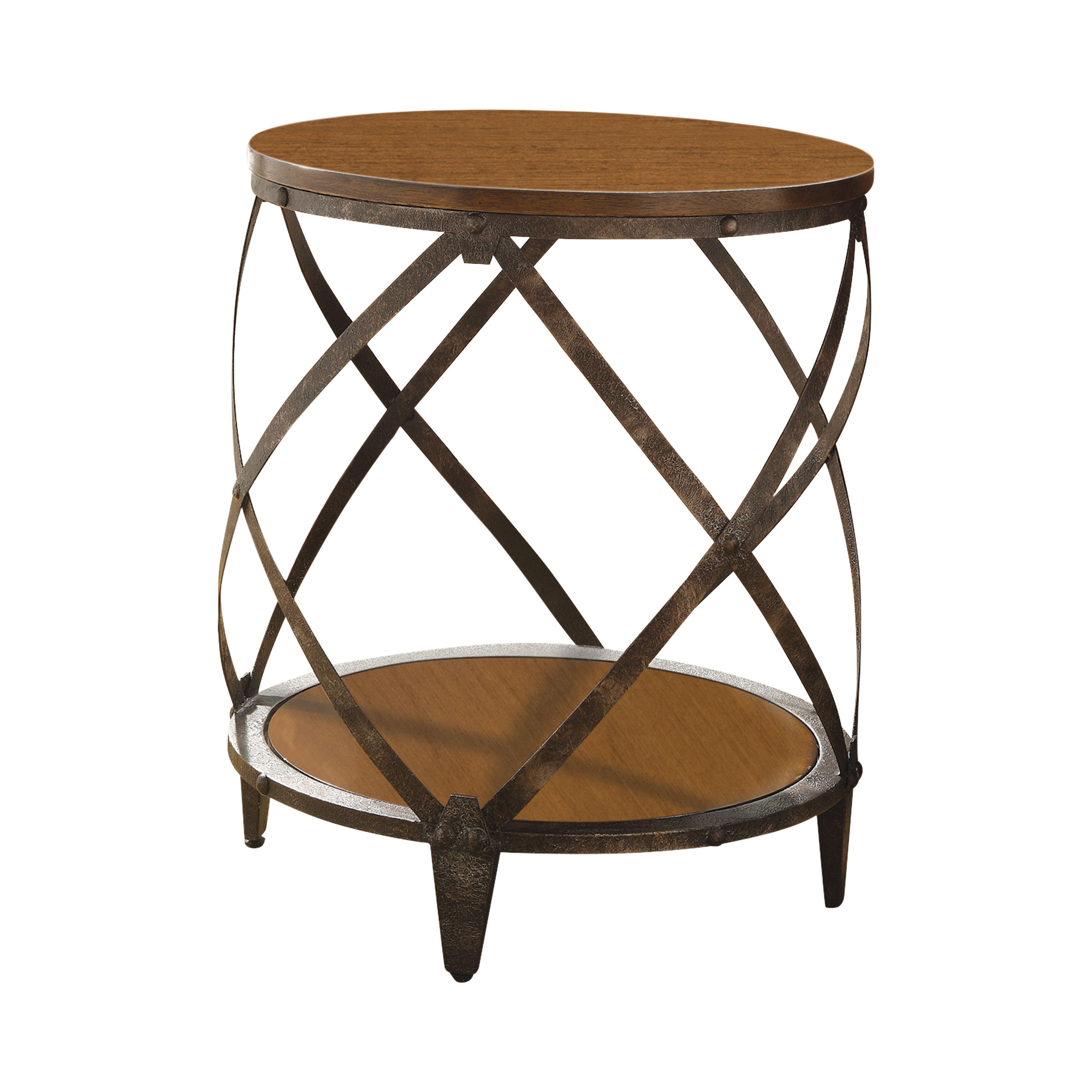Brown Black Metal Round Accent Table