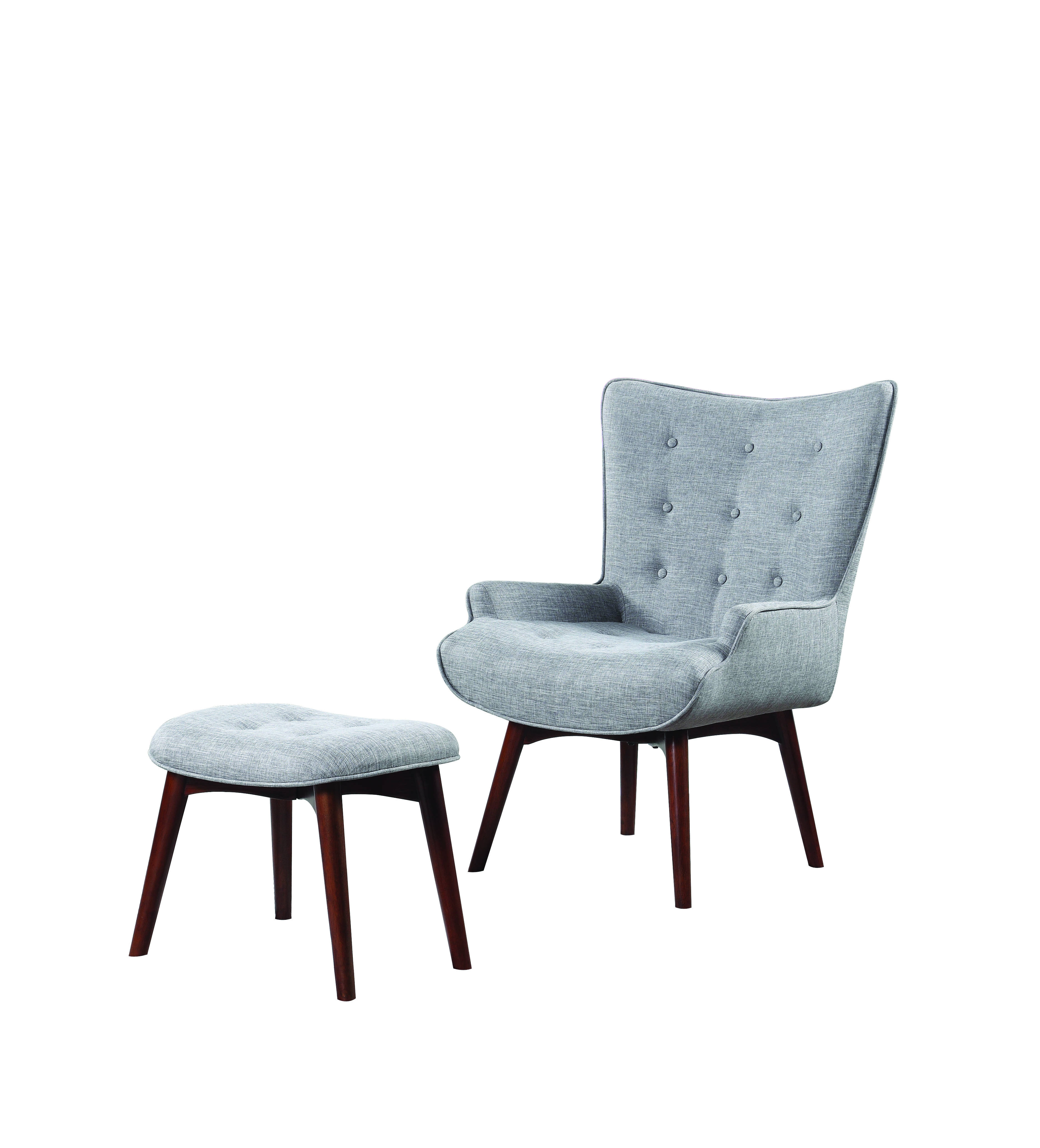 Enjoyable Coaster Furniture Grey Accent Chair With Ottoman Ncnpc Chair Design For Home Ncnpcorg