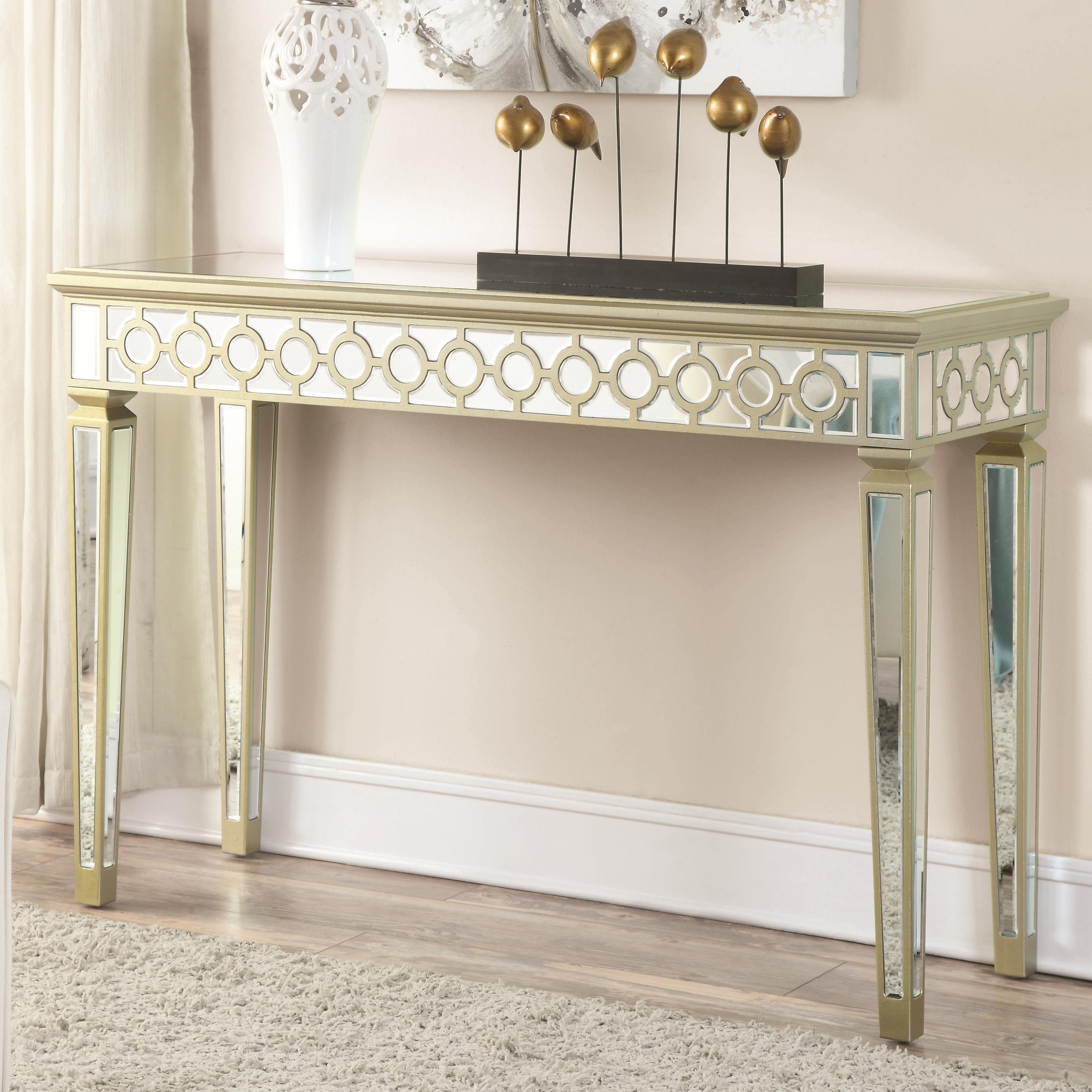 Contemporary Gold Wood Glass Console Table