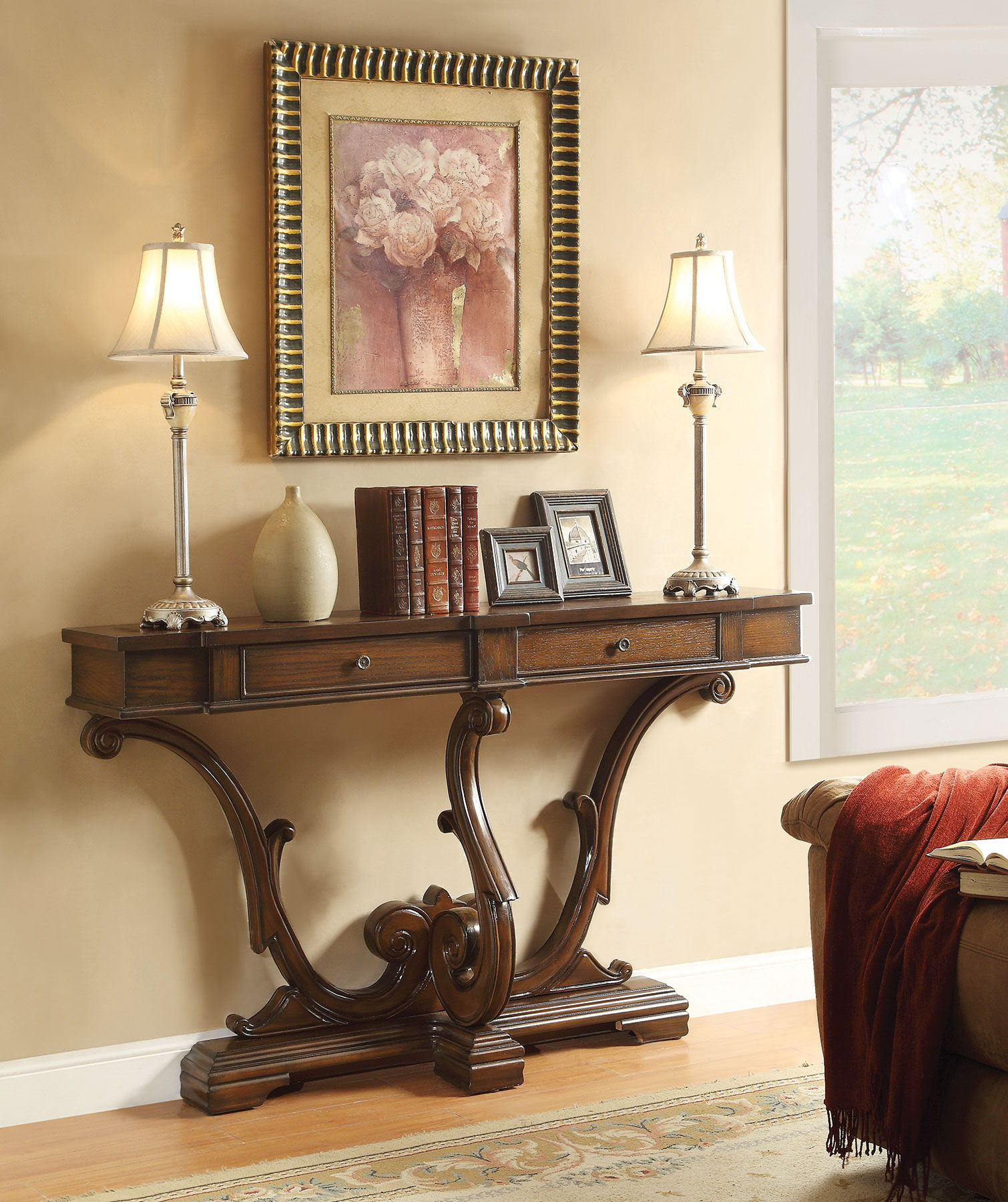 Table Console à Rallonge: Brown Wood Console Table W/Full Extension Drawer Glide