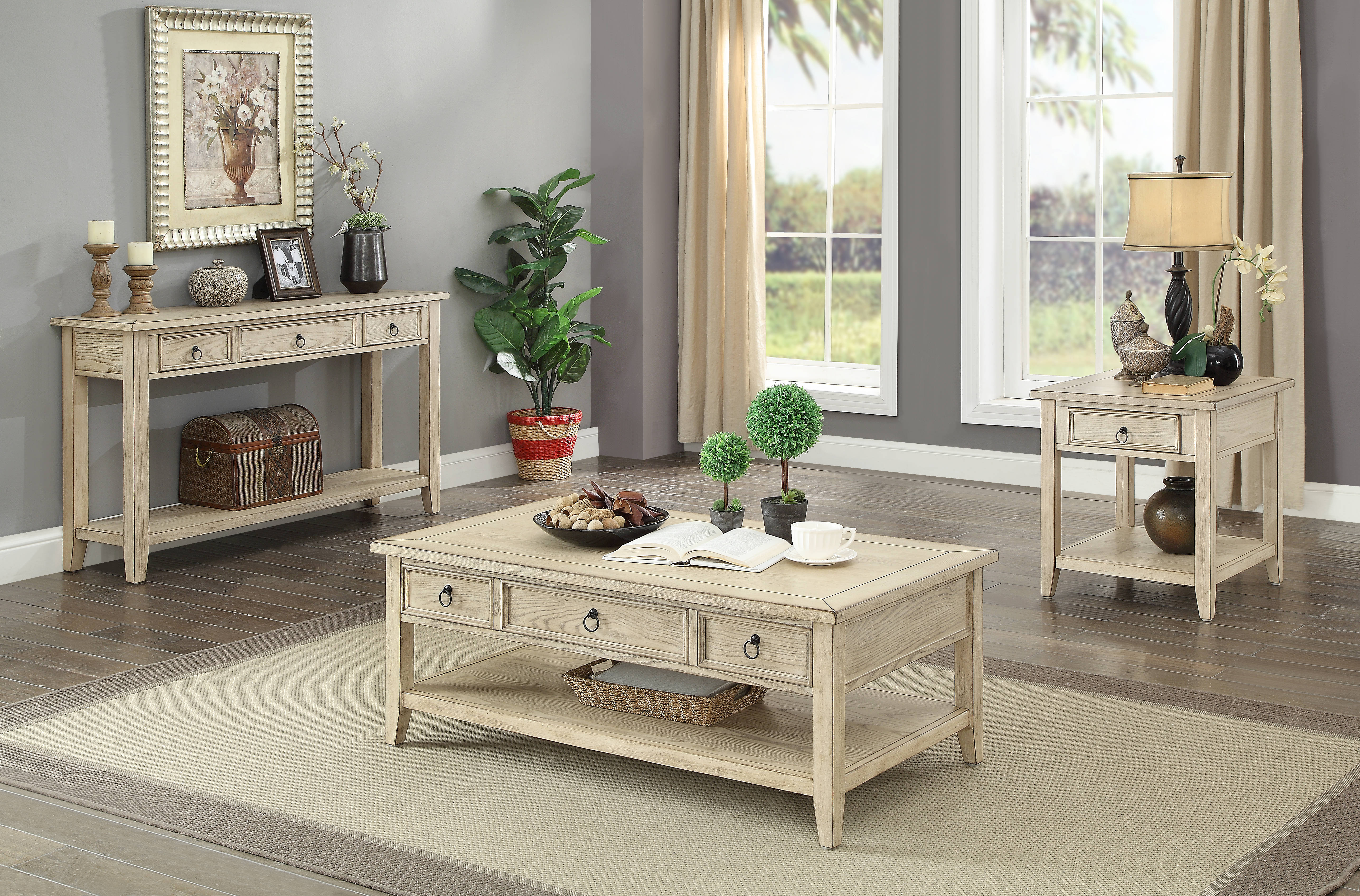 Coast To Summerville Burnished Cream 3pc Coffee Table Set