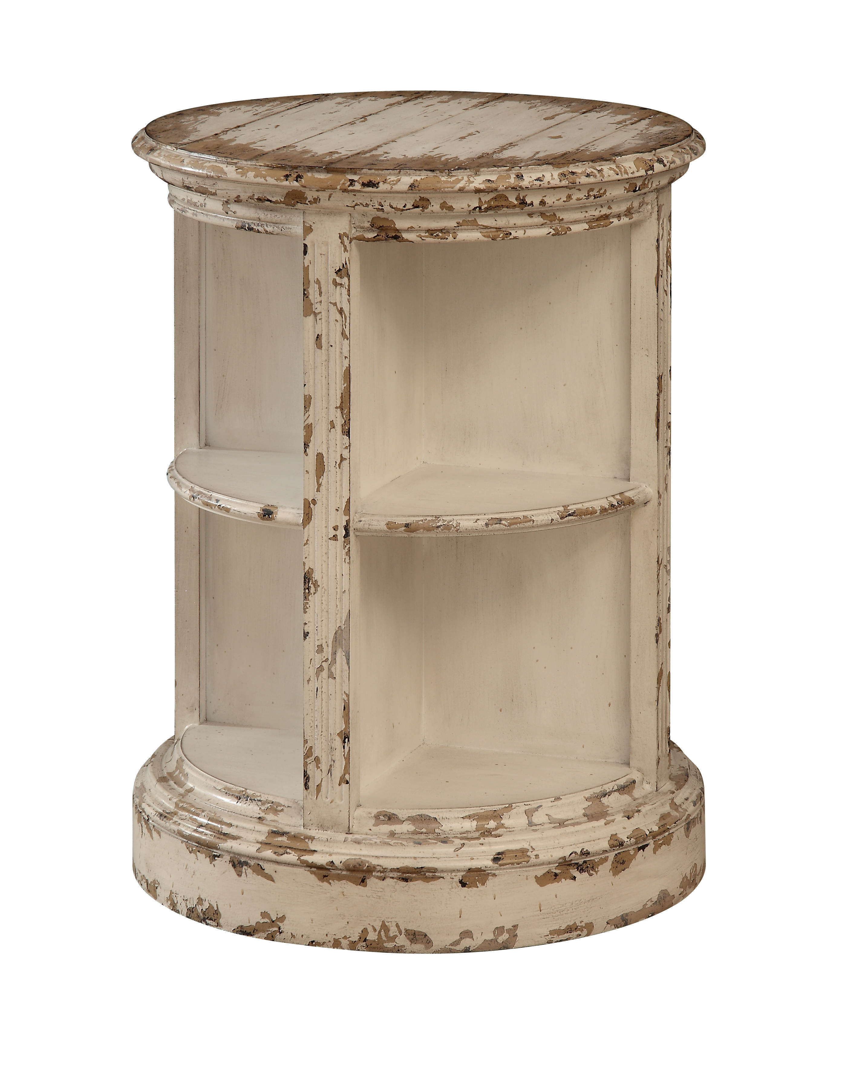 Coast To Cream Wood Round Accent Table