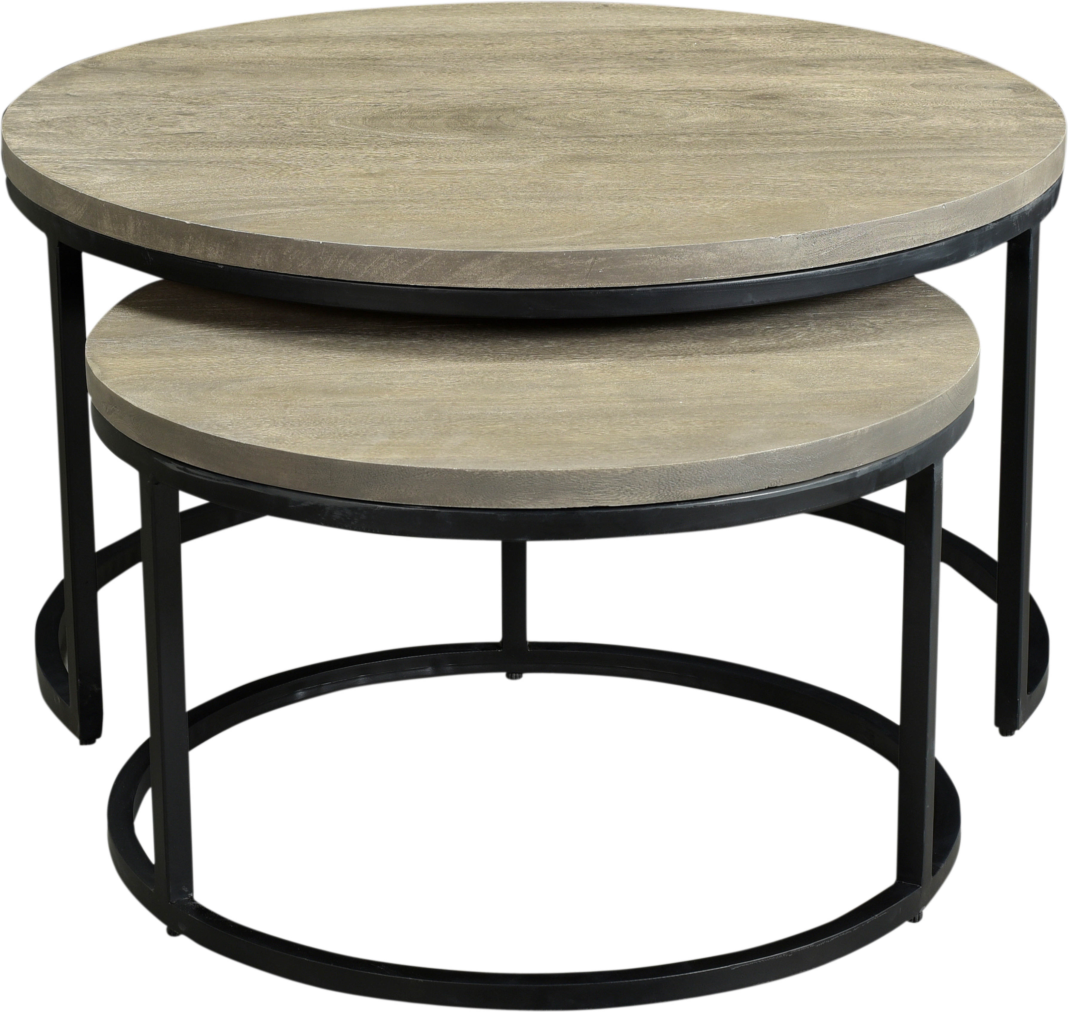 Moes Home Drey Grey Round 2pc Nesting Coffee Table