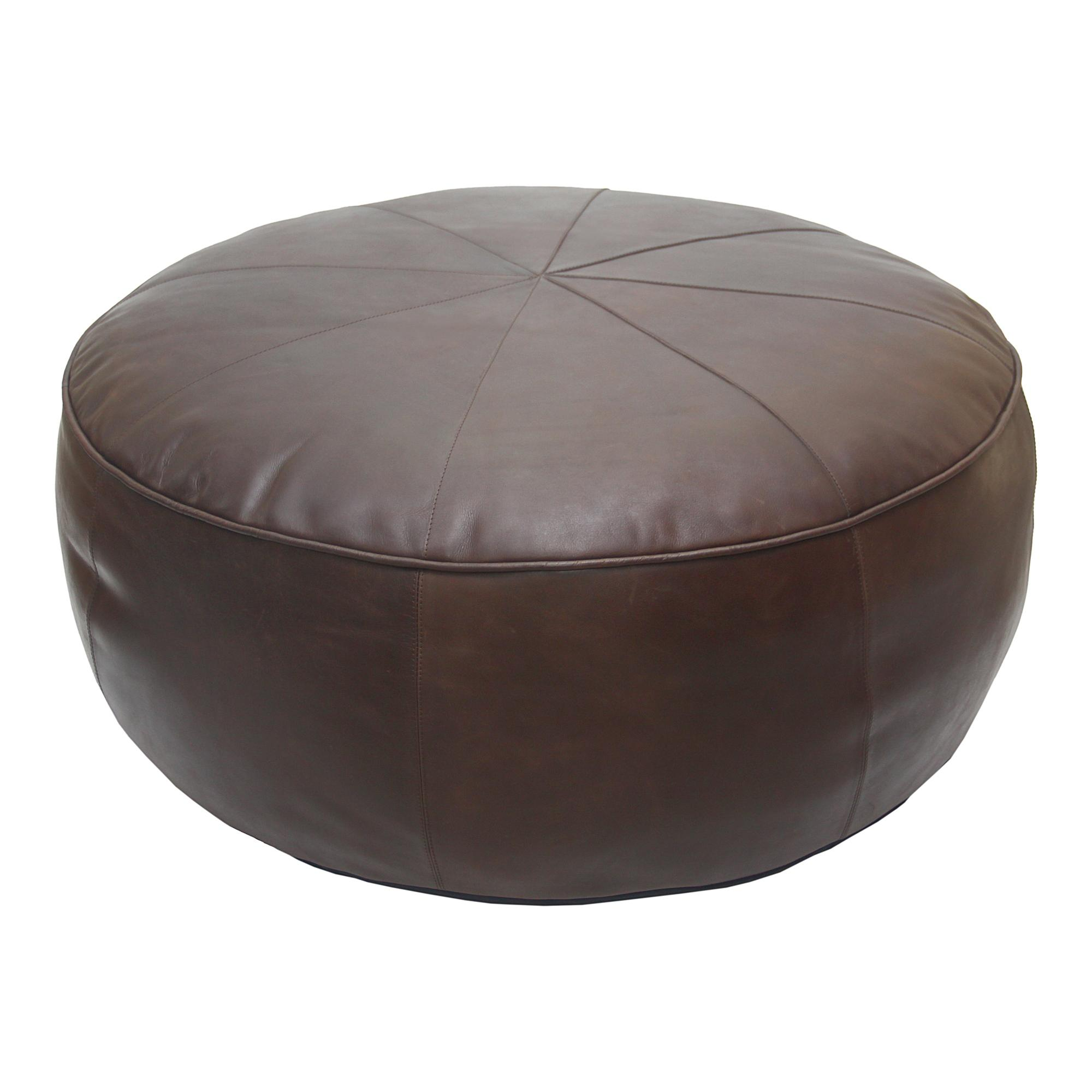 Miraculous Moes Home Arthuro Dark Brown Leather Round Ottoman Ncnpc Chair Design For Home Ncnpcorg