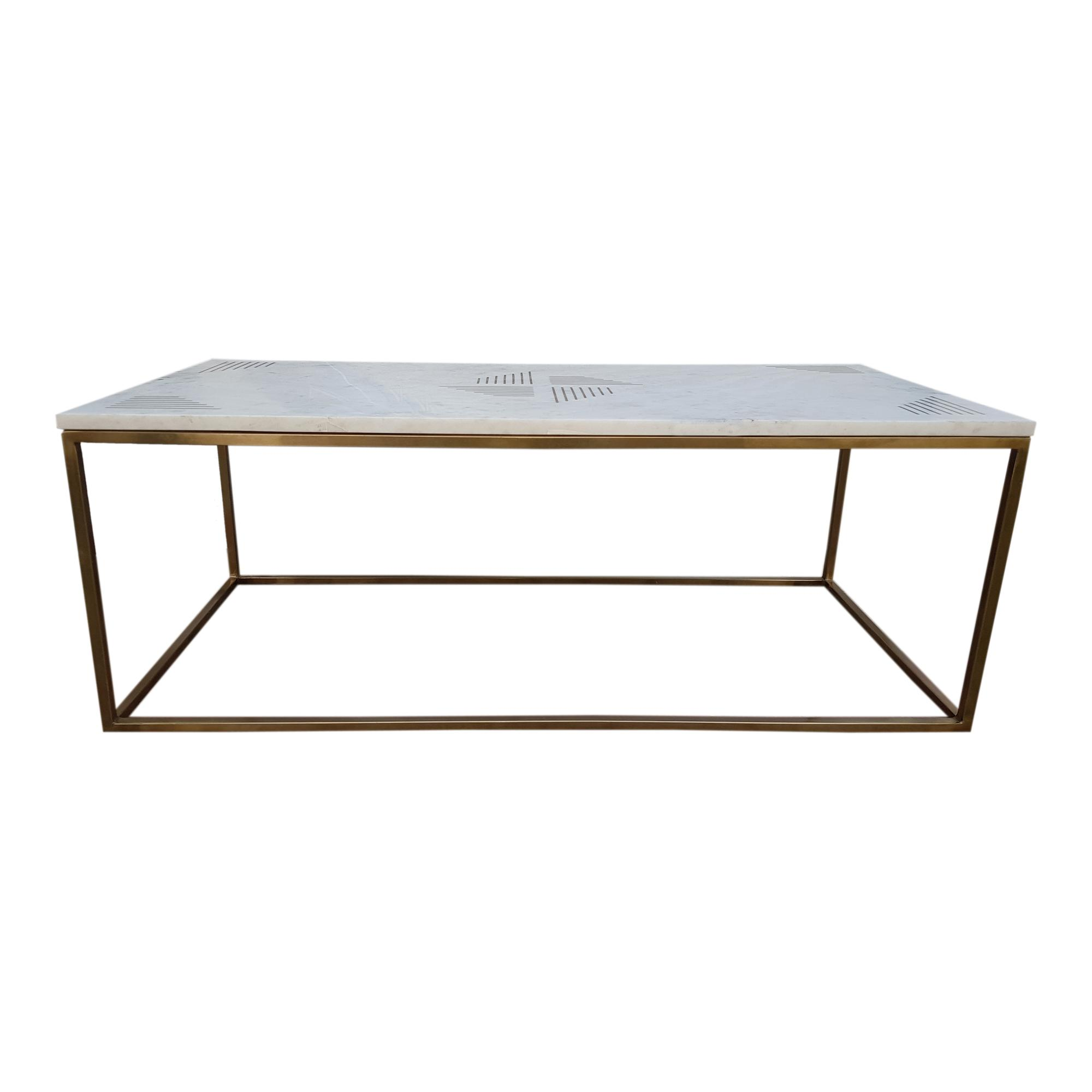 Moes Home Quarry White Marble Coffee Table