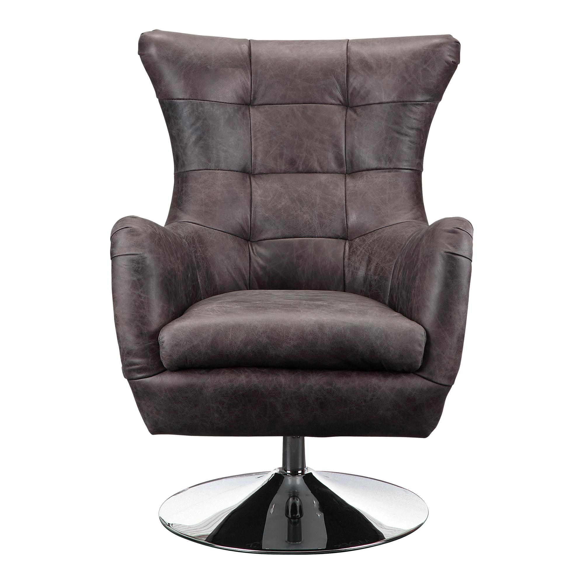 Moes Home Apsley Modern Leather Tufted Back Swivel Chair