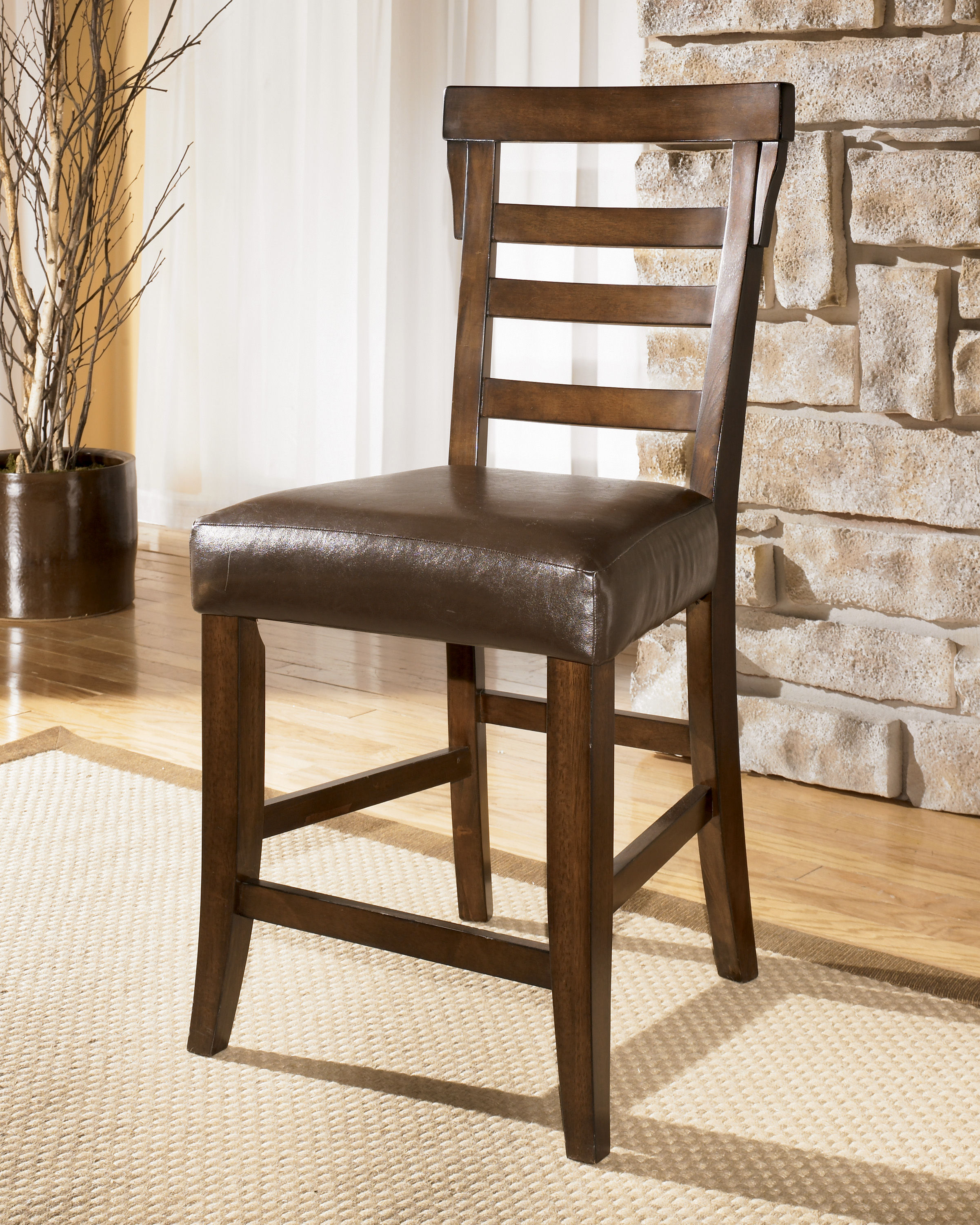 Magnificent 2 Pinderton Dark Brown Faux Leather Wood 24 Inch Bar Stools Evergreenethics Interior Chair Design Evergreenethicsorg