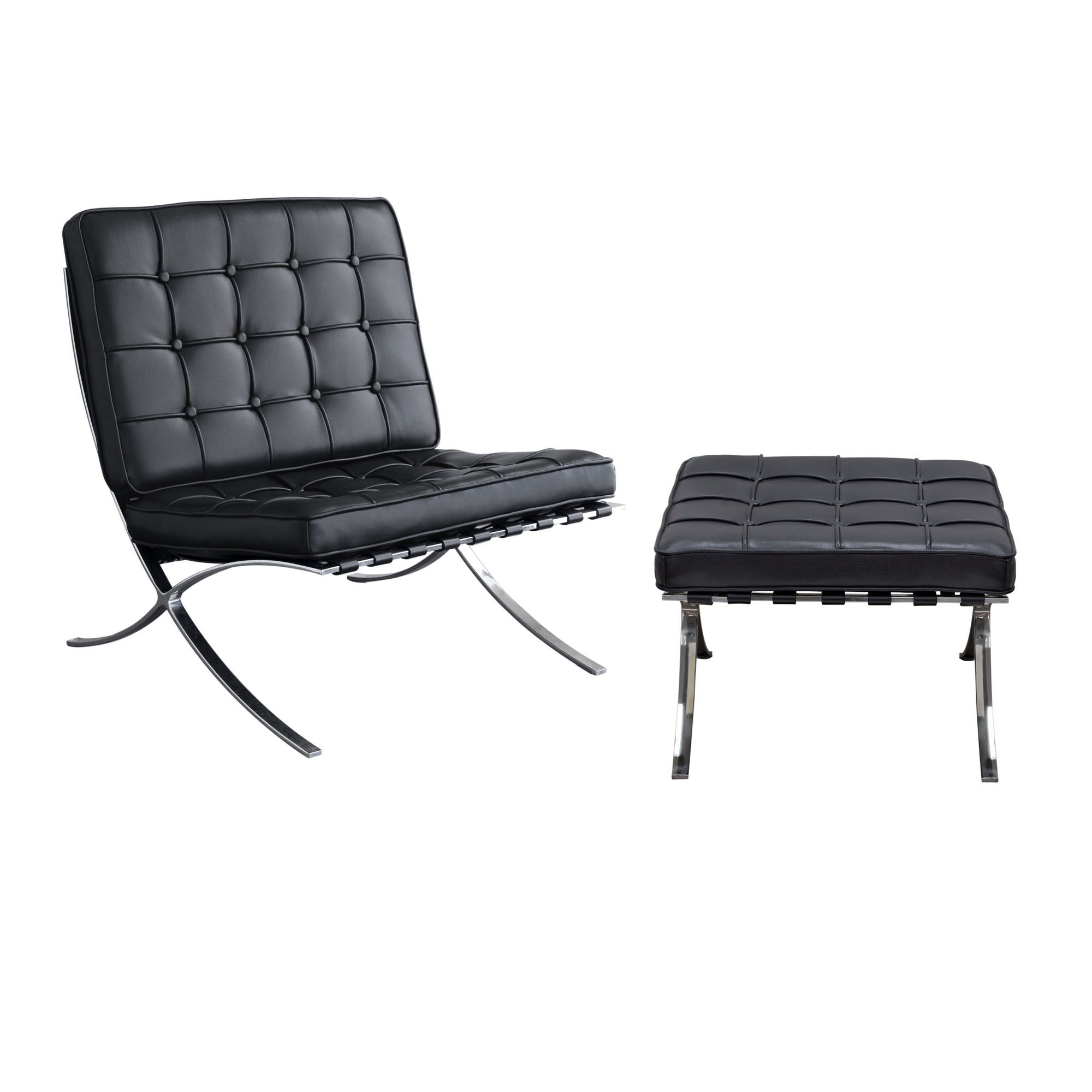 Admirable Diamond Sofa Cordoba Black Bonded Leather Tufted Chair And Ottoman Set Caraccident5 Cool Chair Designs And Ideas Caraccident5Info