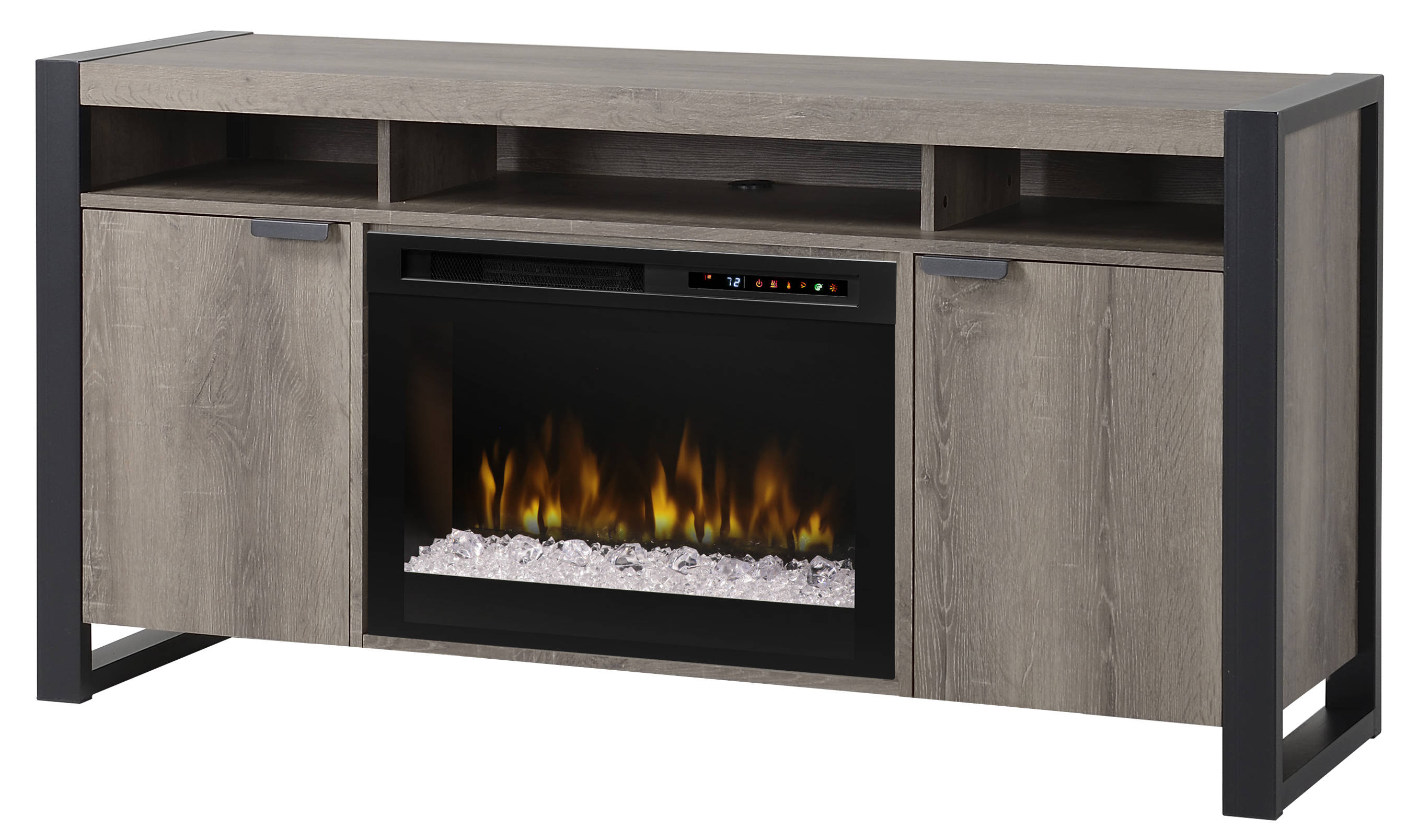 Dimplex pierre steeltown wood media console electric - Going to bed with embers in fireplace ...