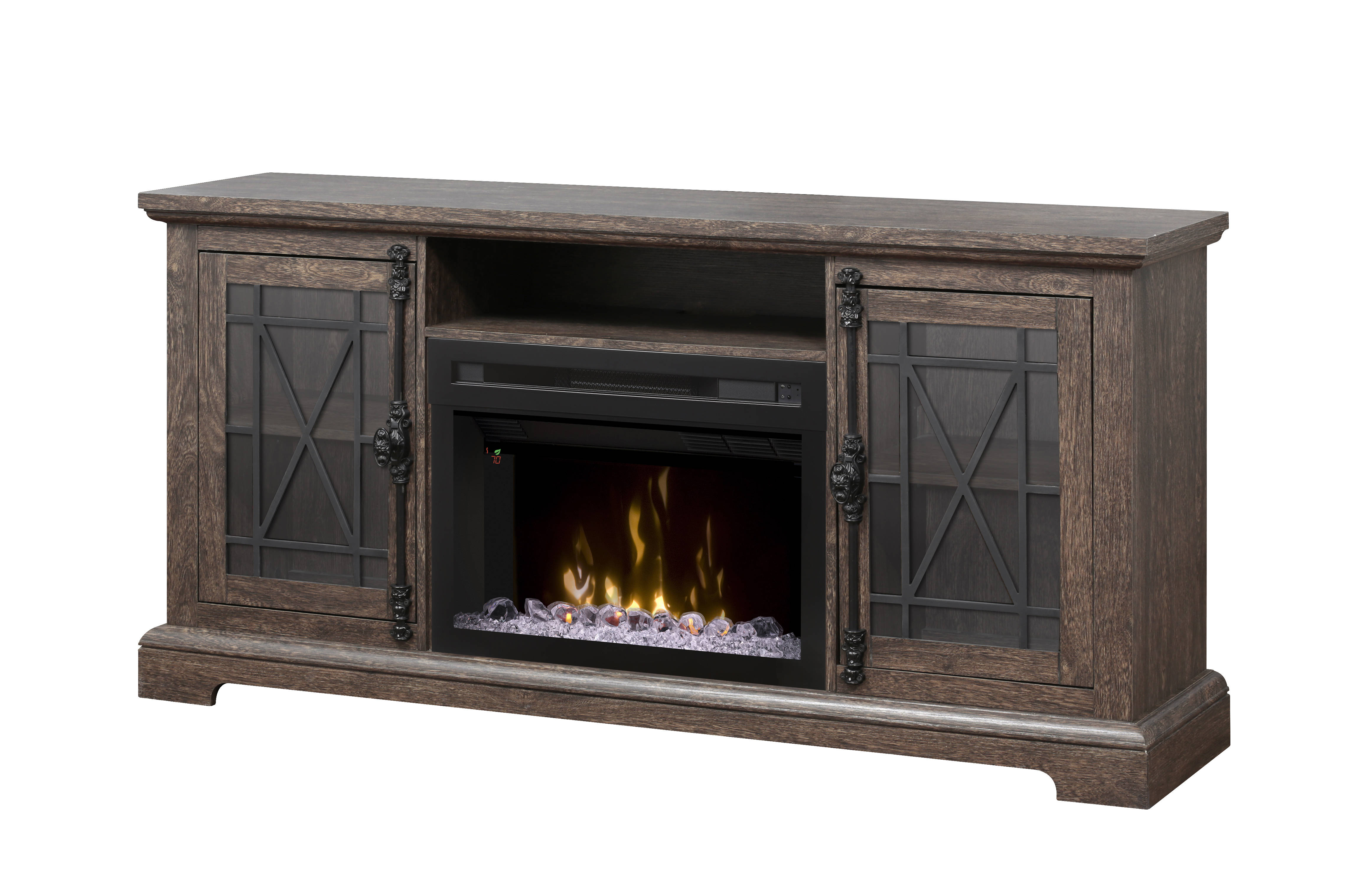 Dimplex natalie elm brown hardwood media console electric - Going to bed with embers in fireplace ...