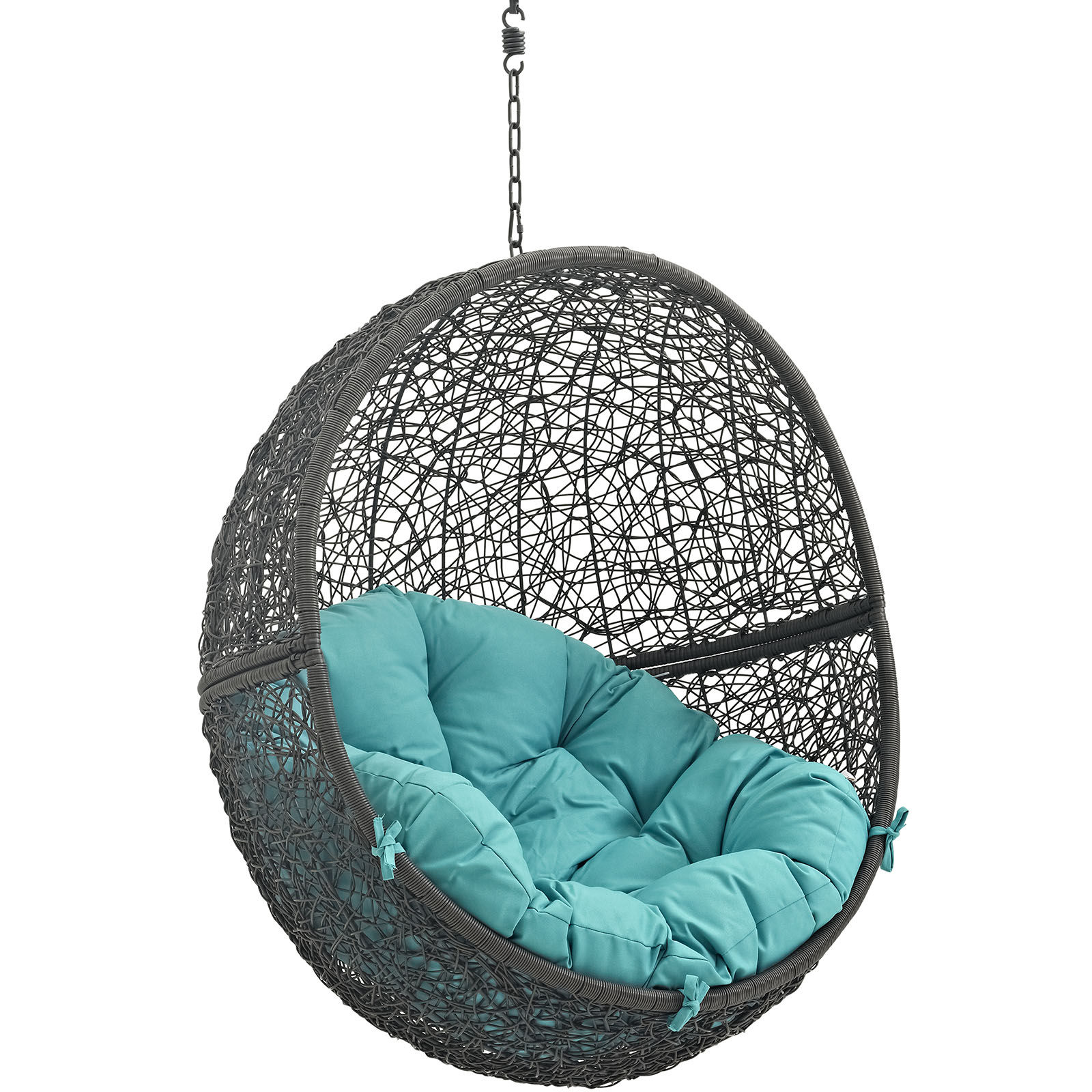 Modway Furniture Hide Gray Turquoise Outdoor Swing Chair