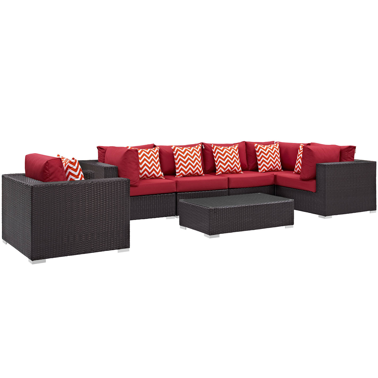 Modway Furniture Convene Espresso Red 7pc Outdoor Sectional Set